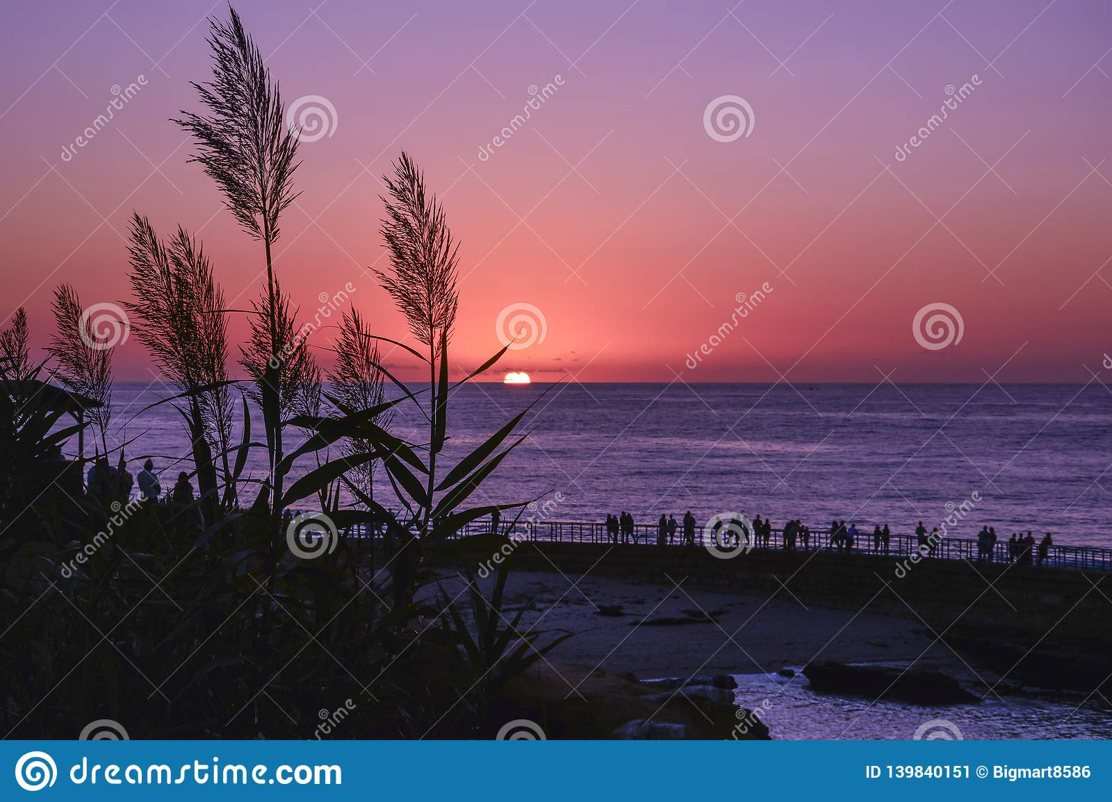 Scenic Sunset With Beautiful Tall Grass In Front And People In Pier Stock Image Image Of Amazin Sunset 139840151