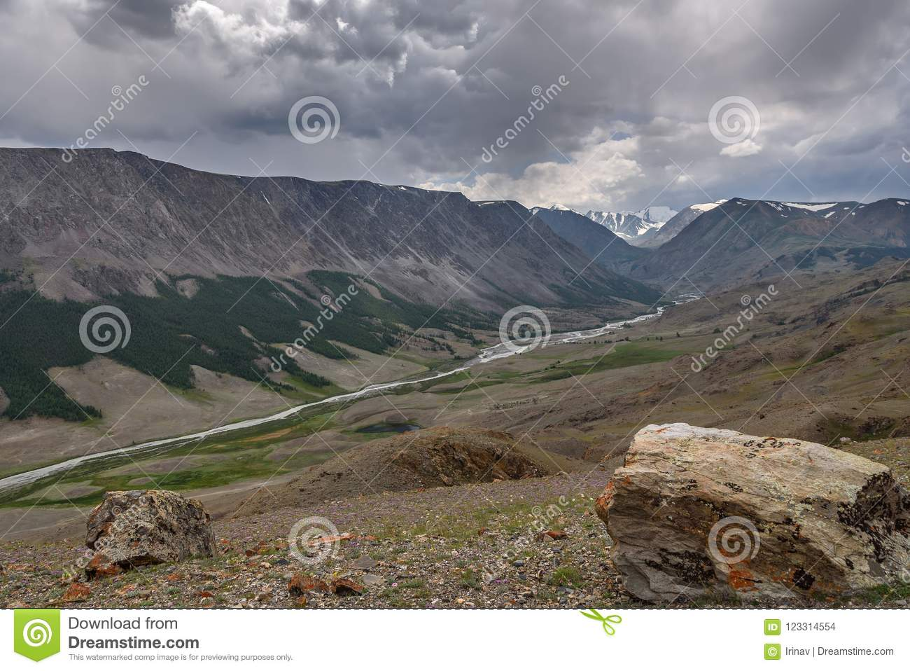 Mountains river valley overcast summer