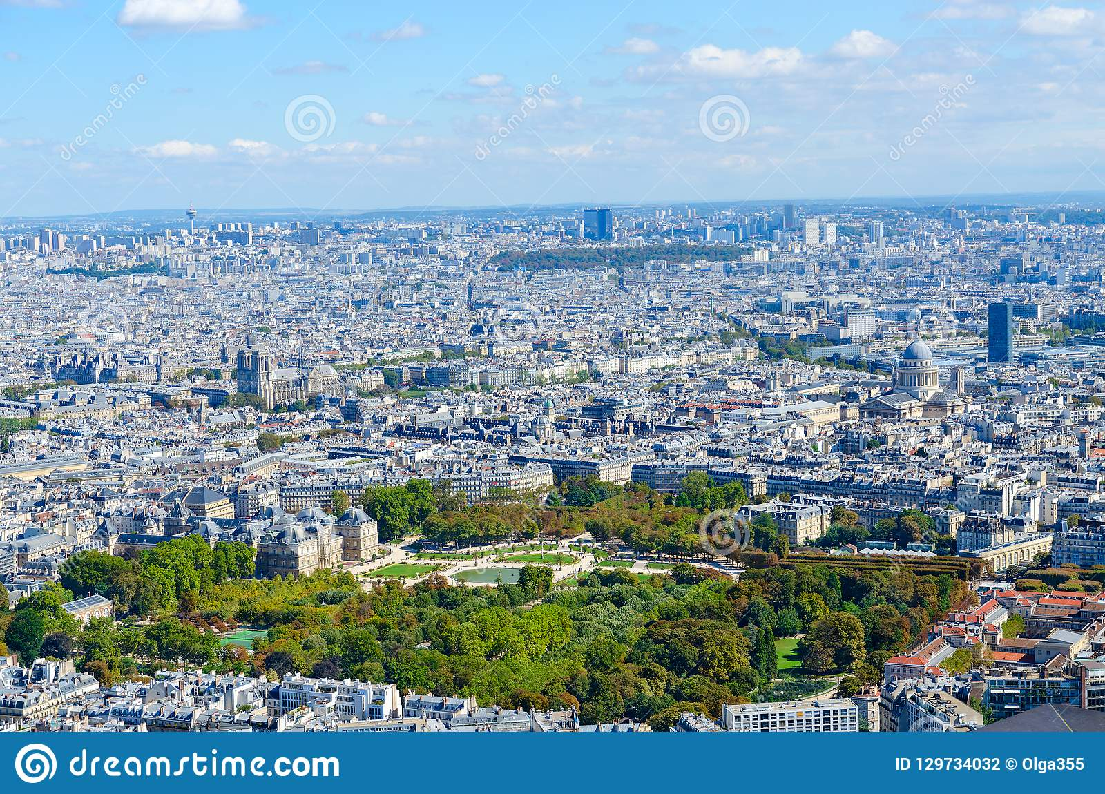 Scenic view from above on Luxembourg Garden, Paris, France