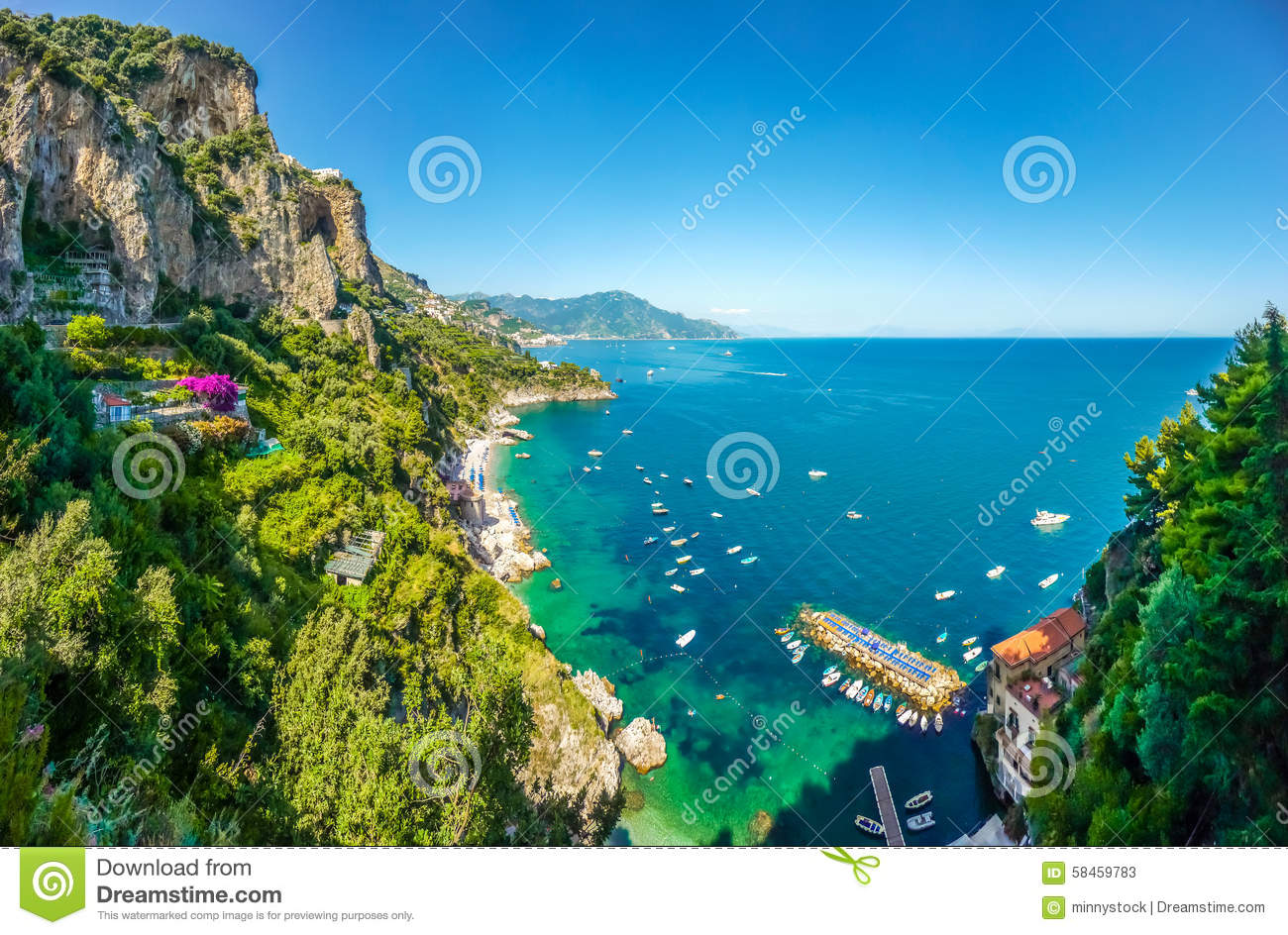 Scenic view of Amalfi Coast, Campania, Italy