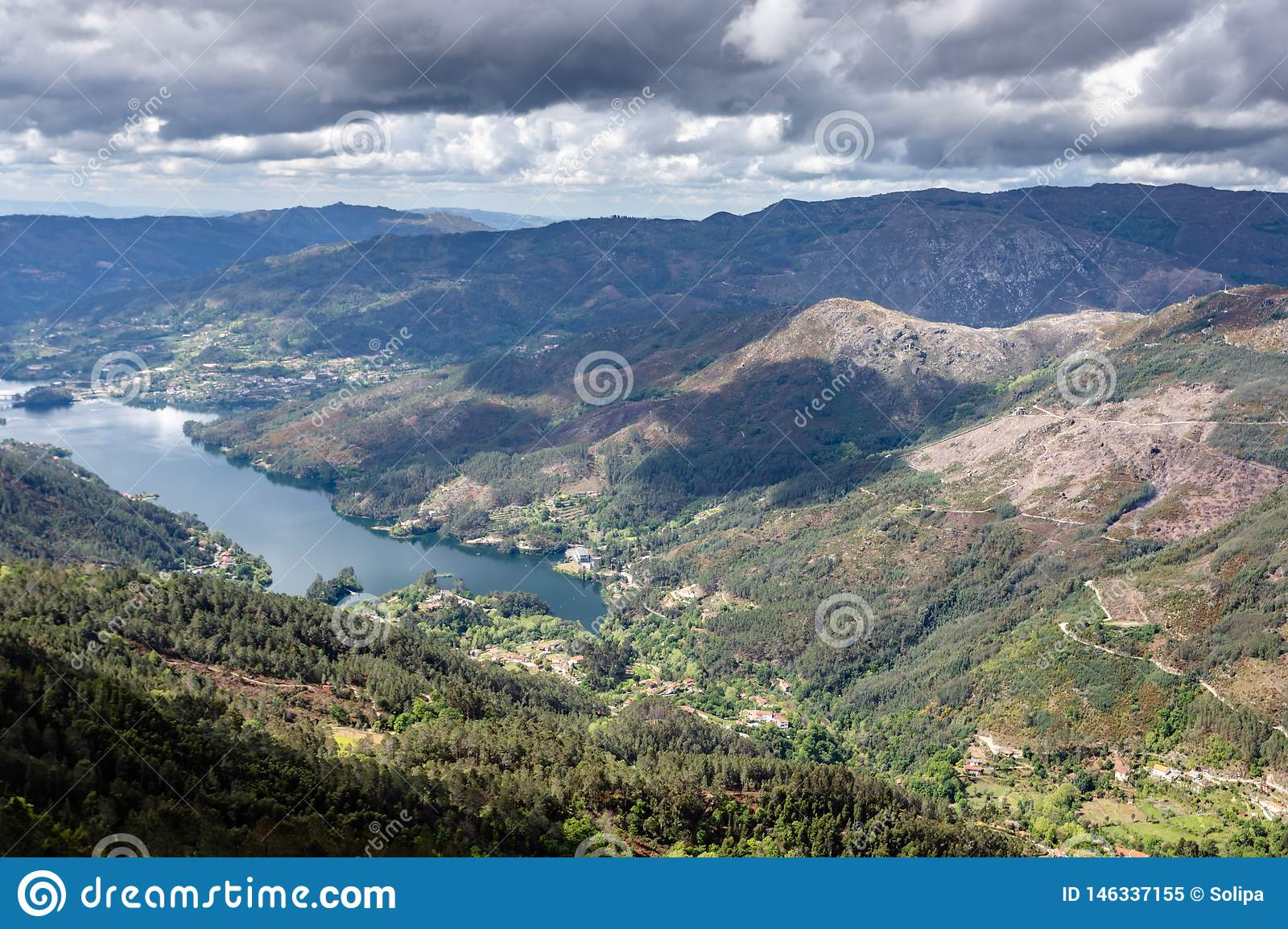 Scenic view of Cavado river and Peneda Geres National Park in northern Portugal