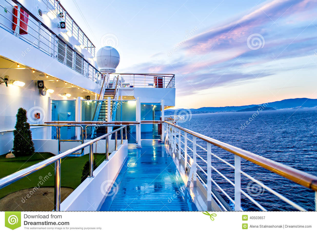 Scenic View Of Cruise Ship Deck And Ocean Stock Photo