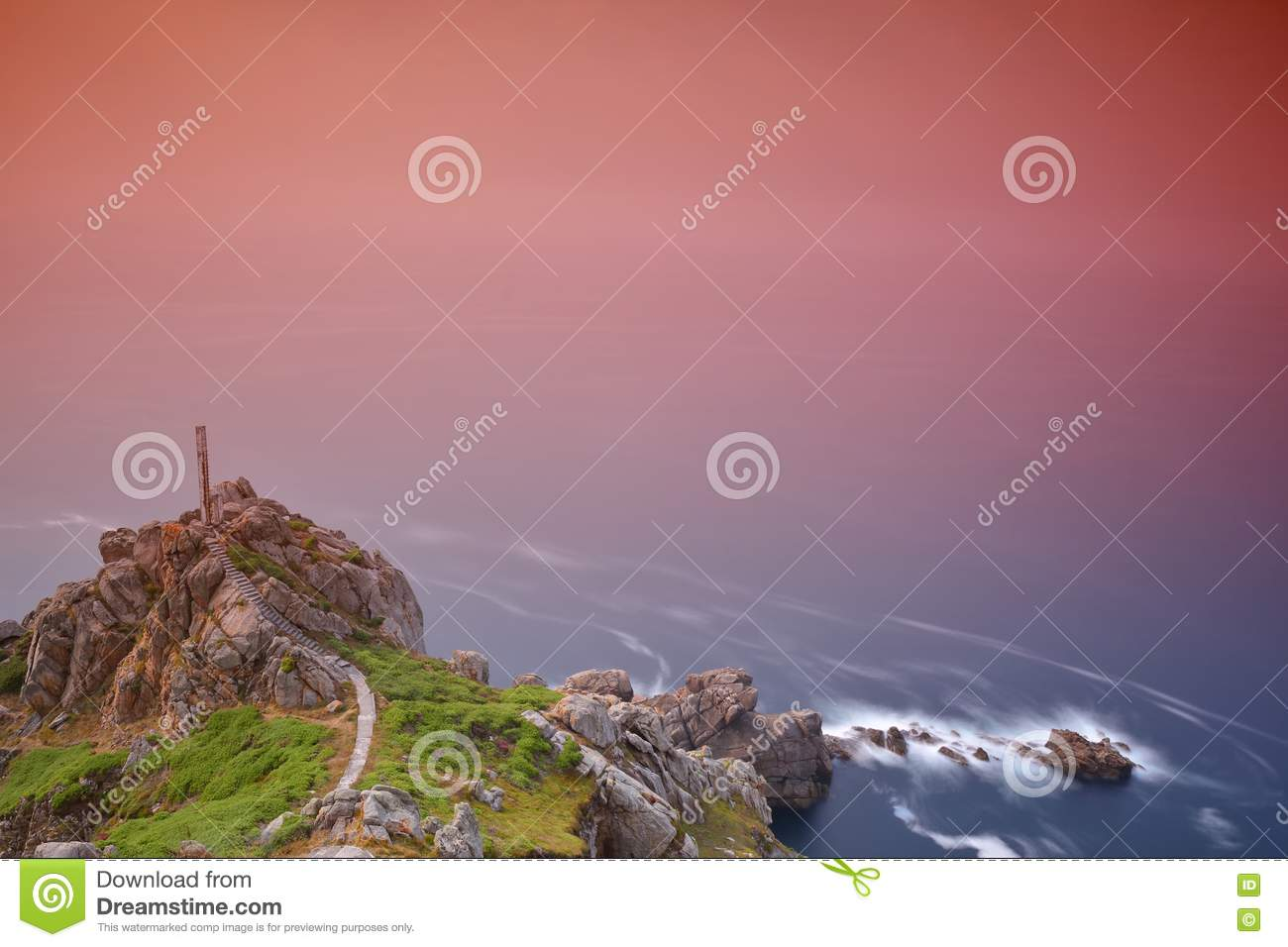 Scenic view of exposed seascape with cliff