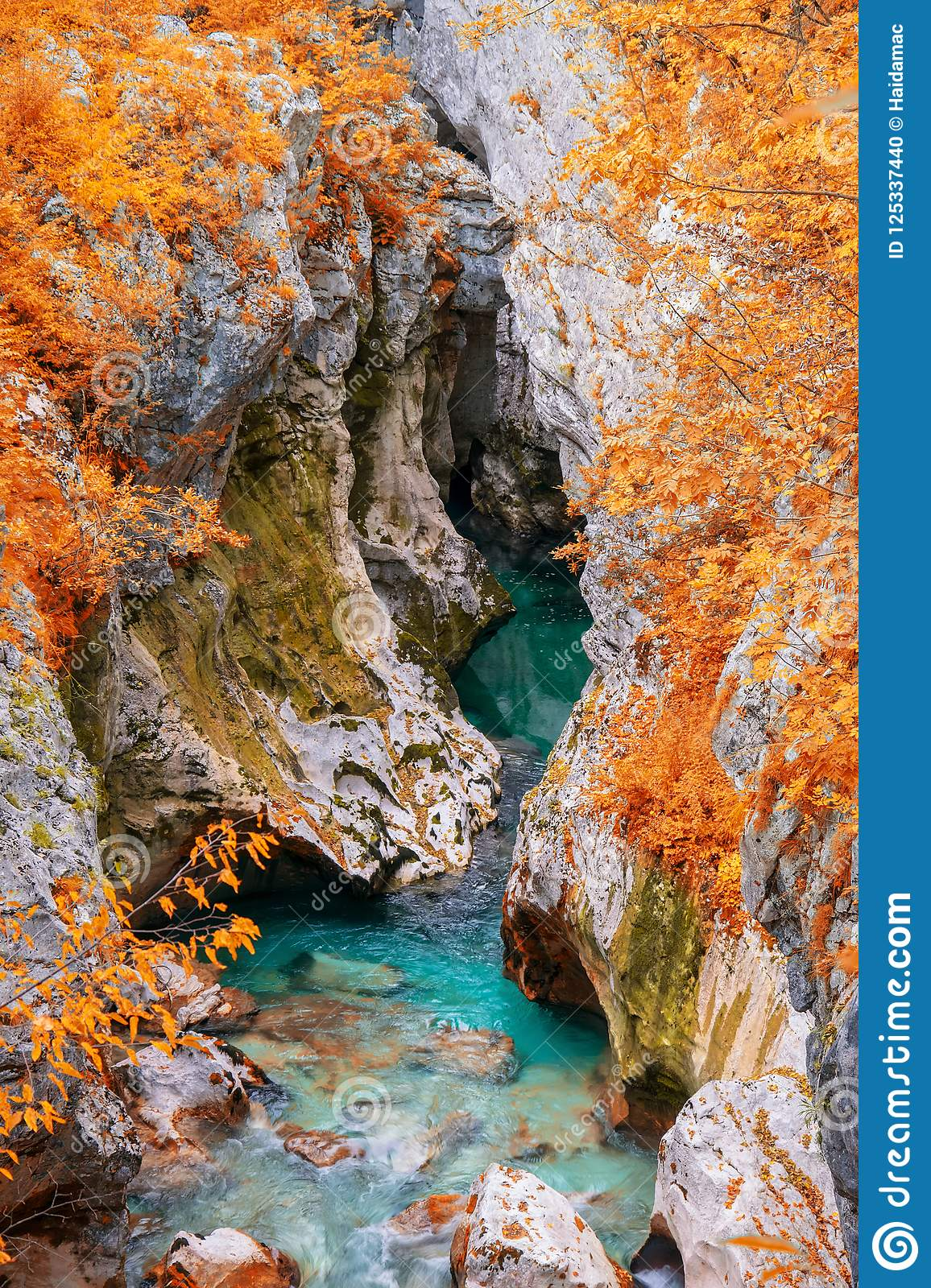 Scenic view of Great Canyon of Soca river near Bovec, Slovenia at autumn day