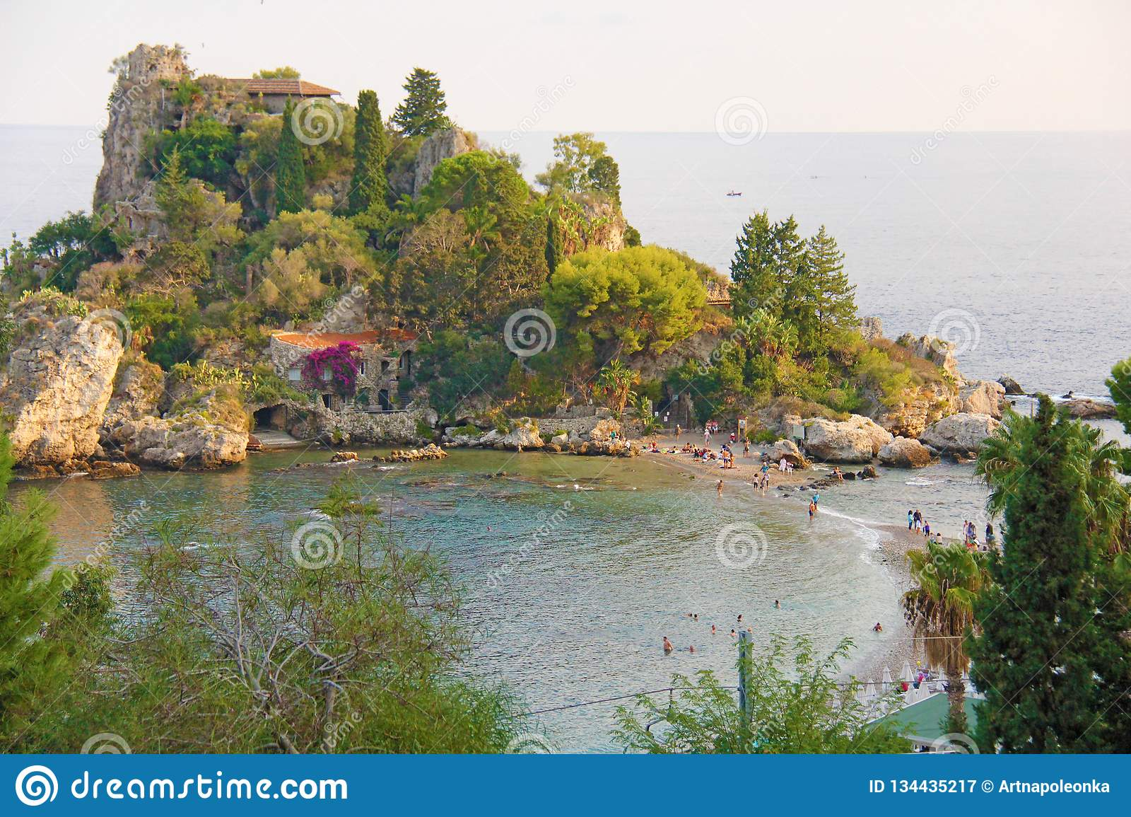 Scenic View of Isola Bella Peninsula in Taormina Town. The island of Sicily, Italy. View of the Sea