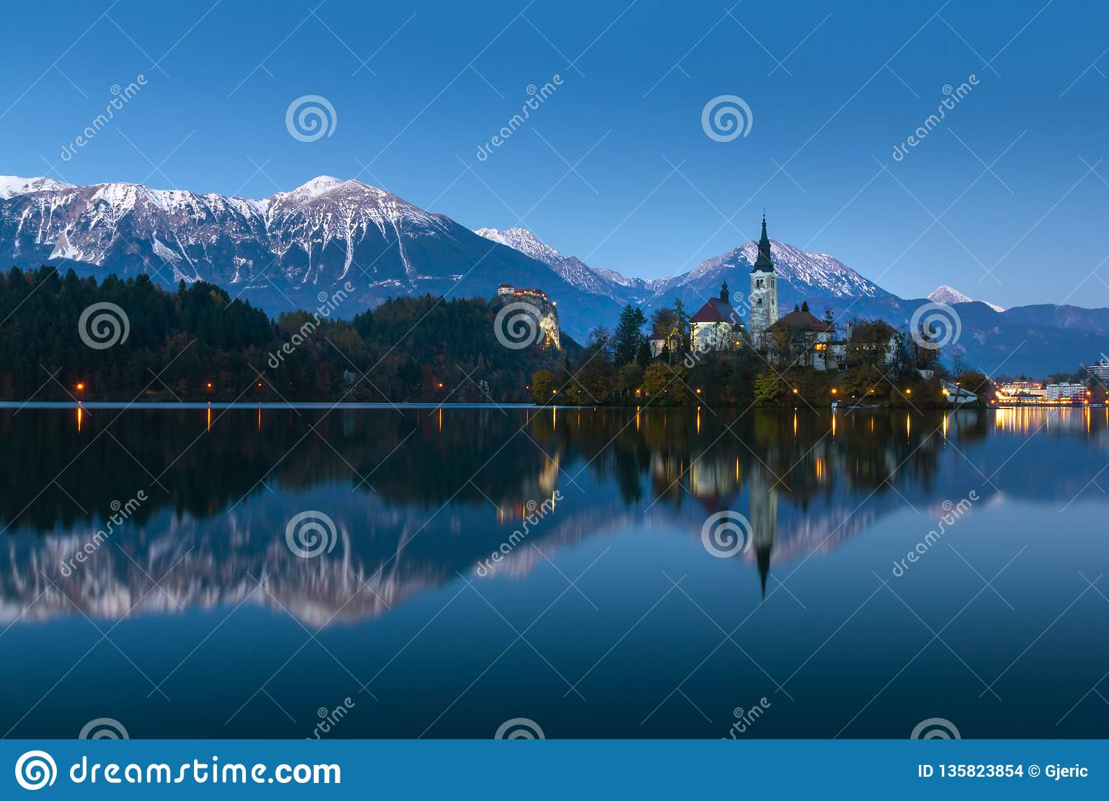 Bled Lake At Winter Night With Reflection Stock Photo