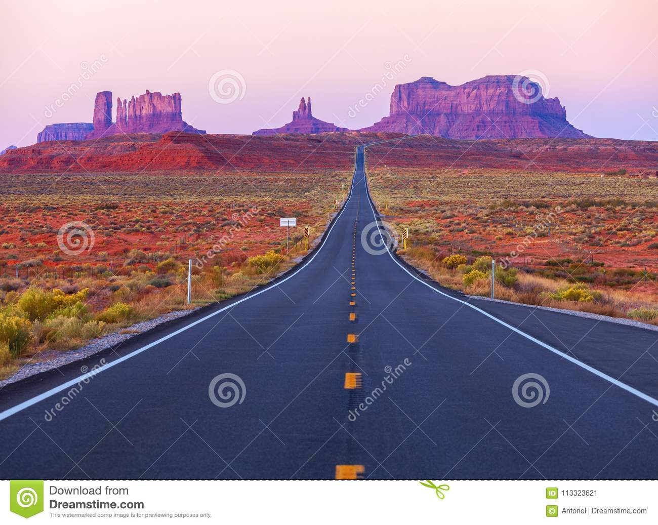 Download Scenic View Of Monument Valley In Utah At Twilight, United States Stock Image - Image of countryside, landscape: 113323621