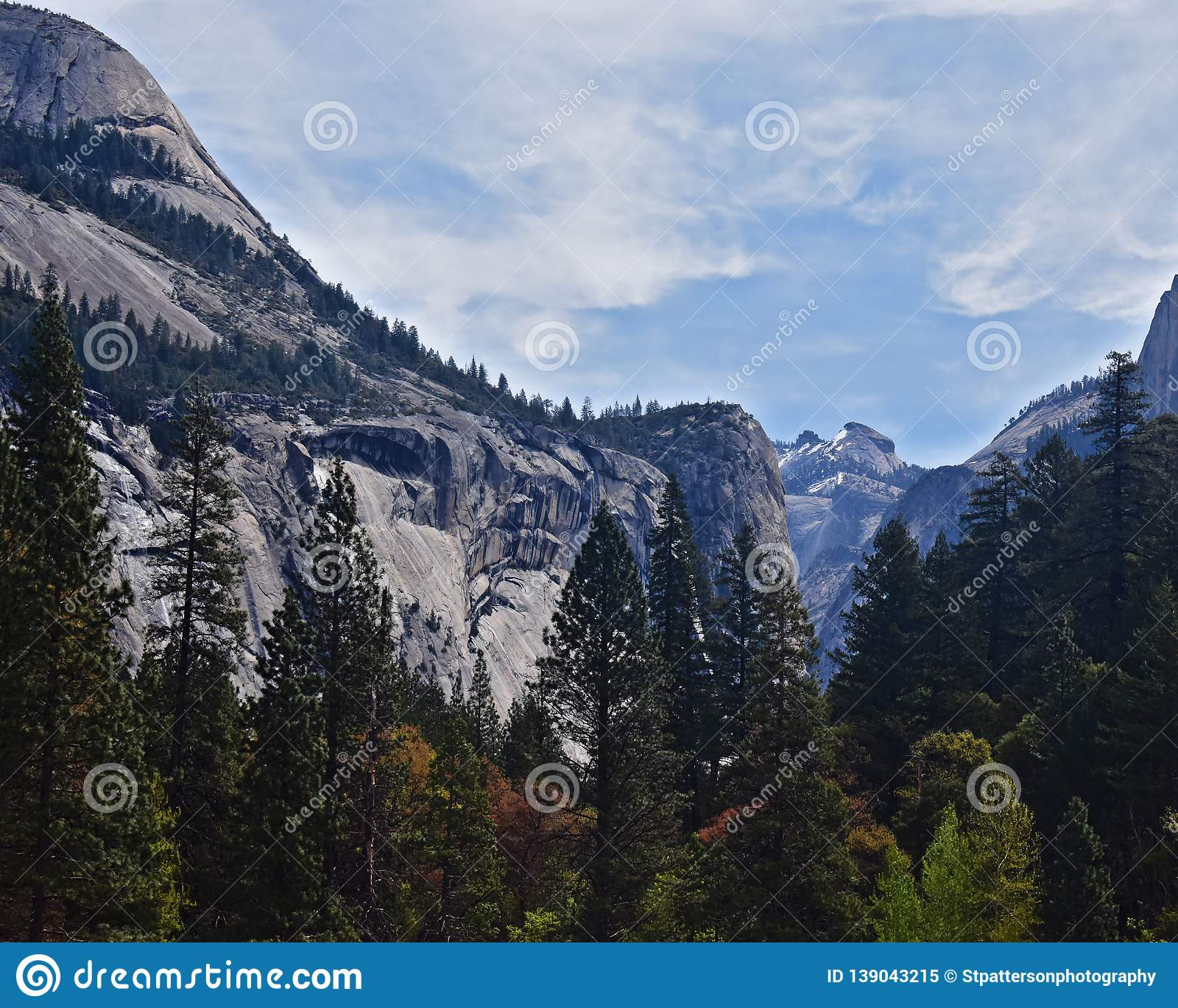 Scenic view of mountain and trees in Yosemite