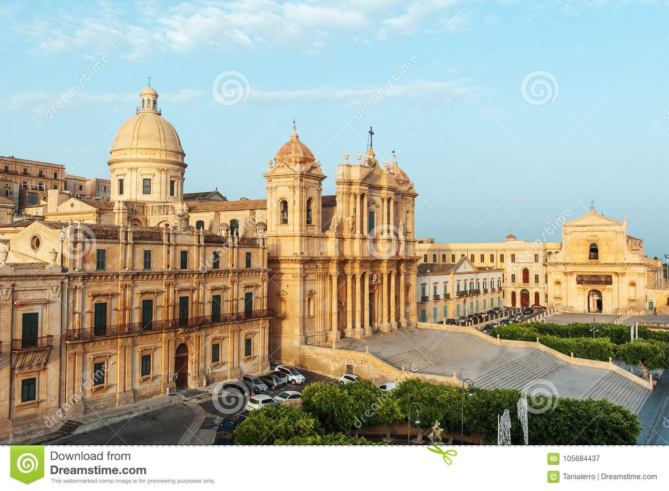 Scenic view of the Noto cathedral church, example of baroque architecture, Sicily, Italy