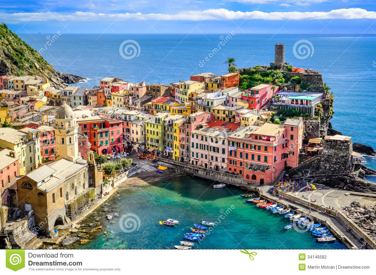 Scenic View Of Ocean And Harbor In Colorful Village Vernazza Ci Stock Photo Image Of Ocean