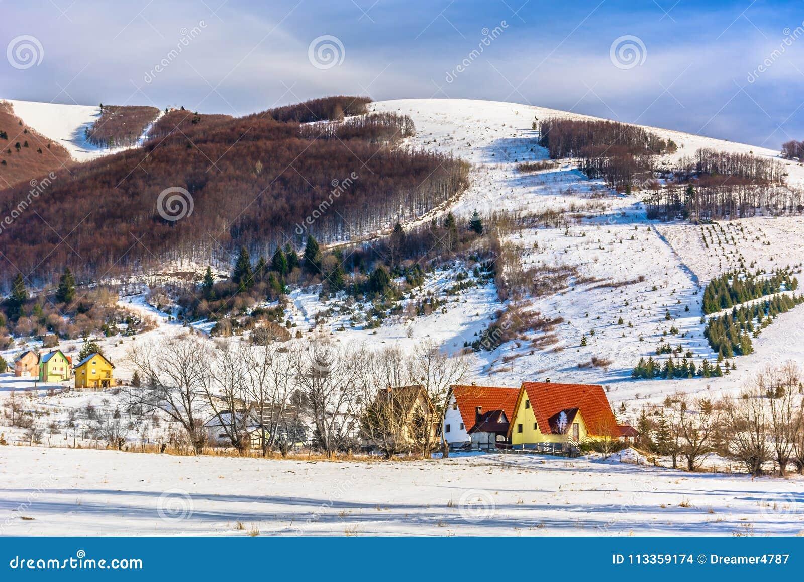 winter landscape in famous ski resort, kupres. stock photo - image