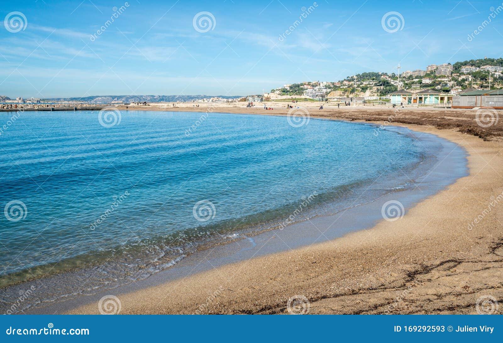 Scenic View Of Prado Beach On Beautiful Sunny Day Marseille France