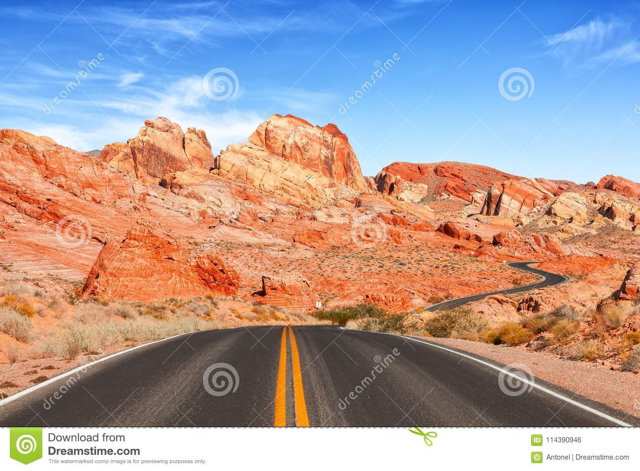 Download Scenic View From Road In The Valley Of Fire State Park, Nevada, United States Stock Photo - Image of valley, colorful: 114390946