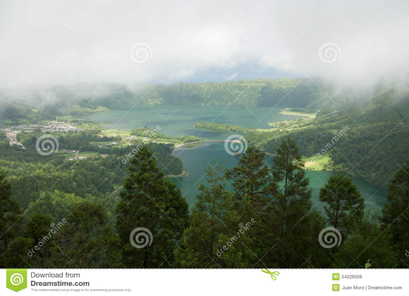 Scenic view under the clouds of Lagoa das Sete Cidades, Azores