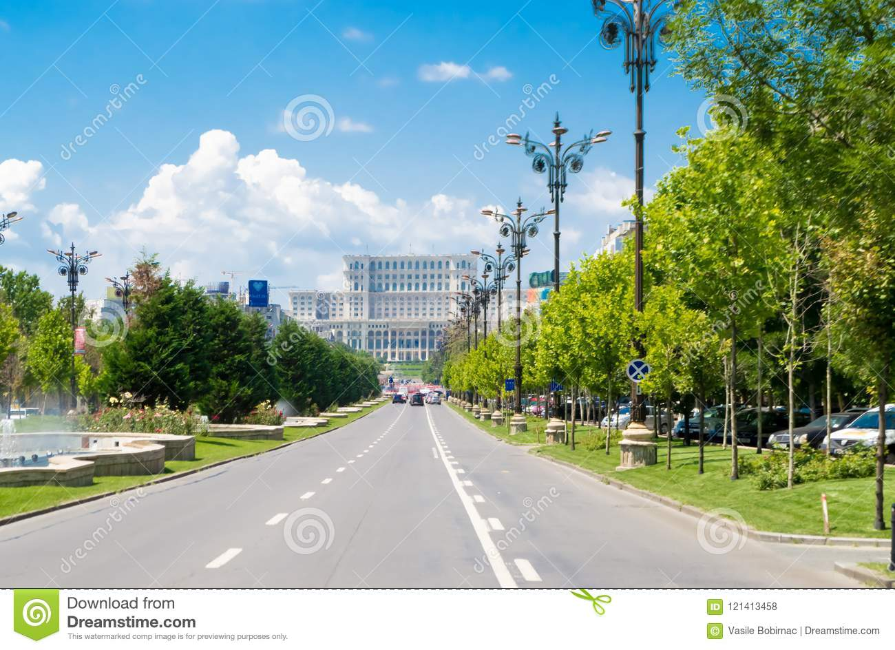 The Union Boulevard and the Parliament Palace in Bucharest, Romania.