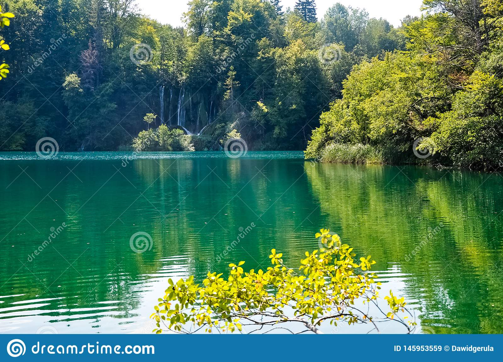 Scenic view of waterfalls in the Plitvice Lakes National Park, Croatia