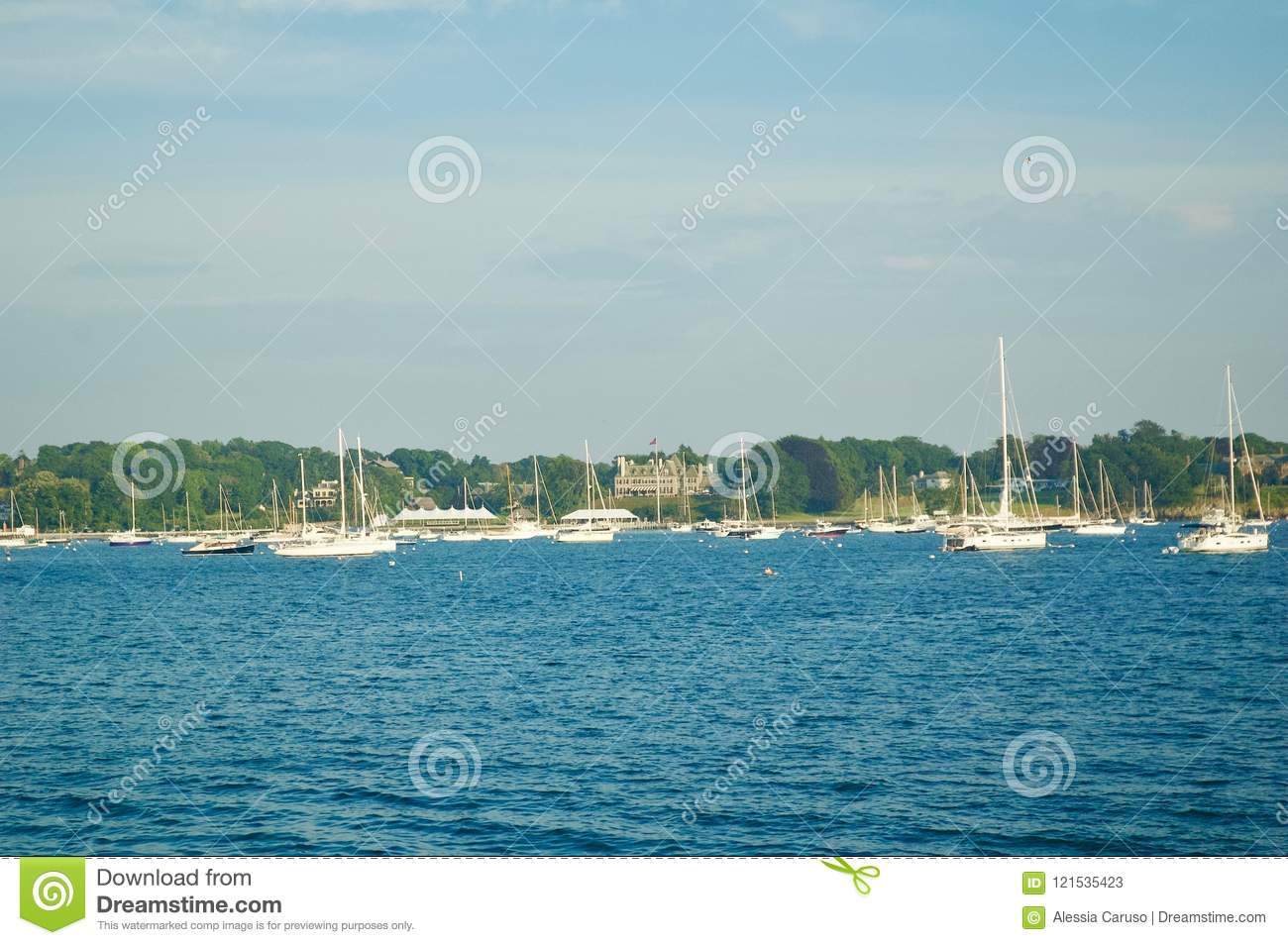 Scenic Views of Newport Marina in Newport, Rhode Island.