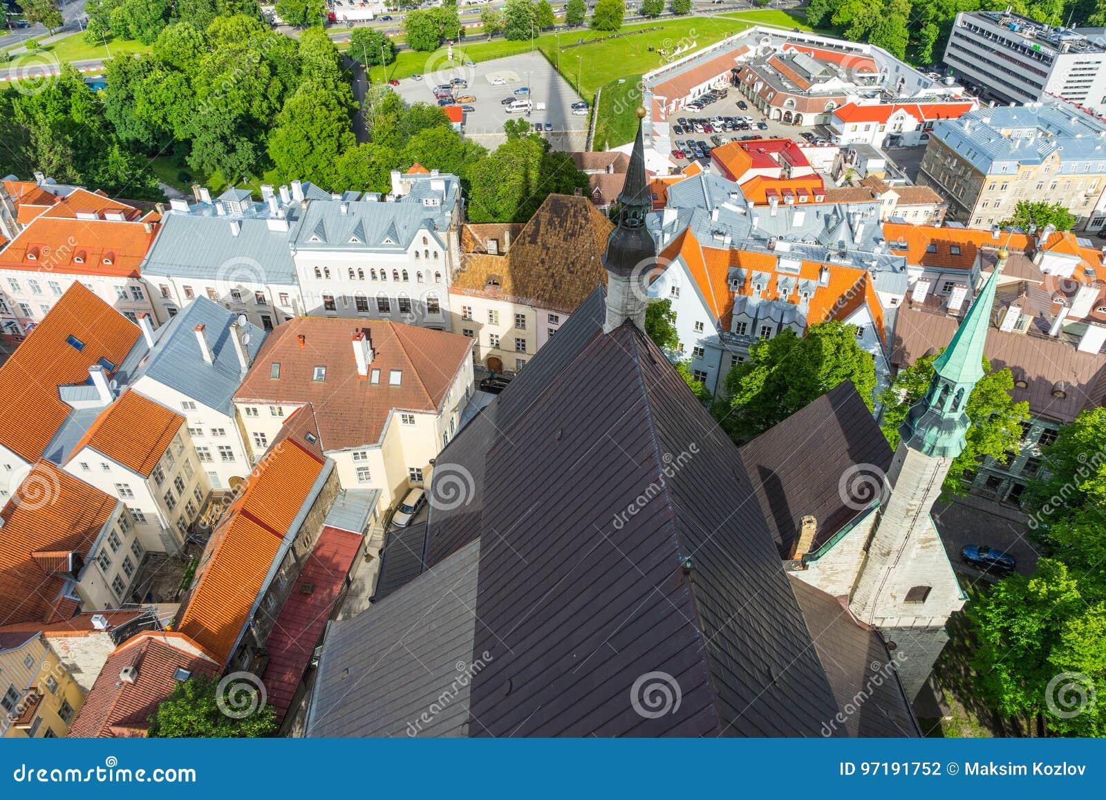 Sceniczna lato panorama miasto Tallinn, Estonia