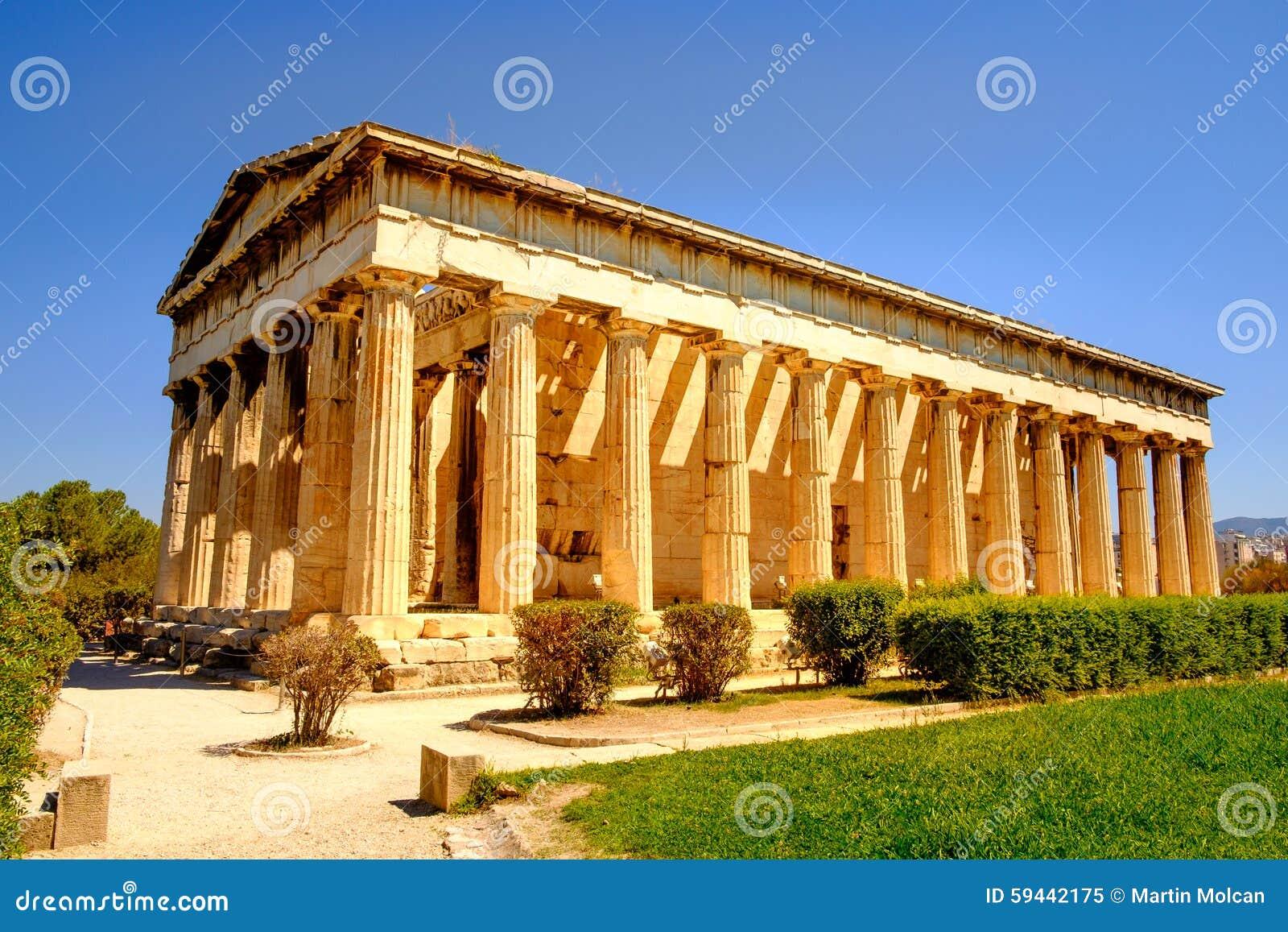 Sceniczny widok świątynia Hephaestus w Antycznej agorze, Ateny