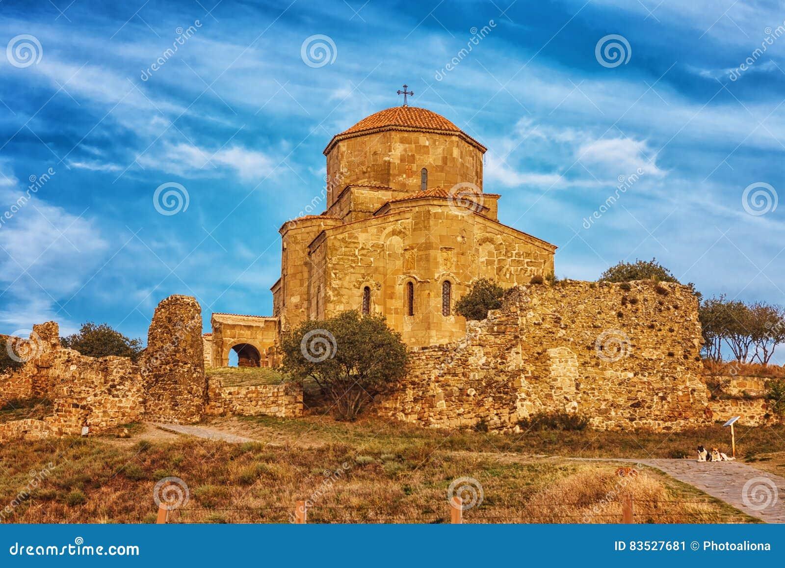 Sceniczny widok Jvari monaster w Mtskheta, Gruzja