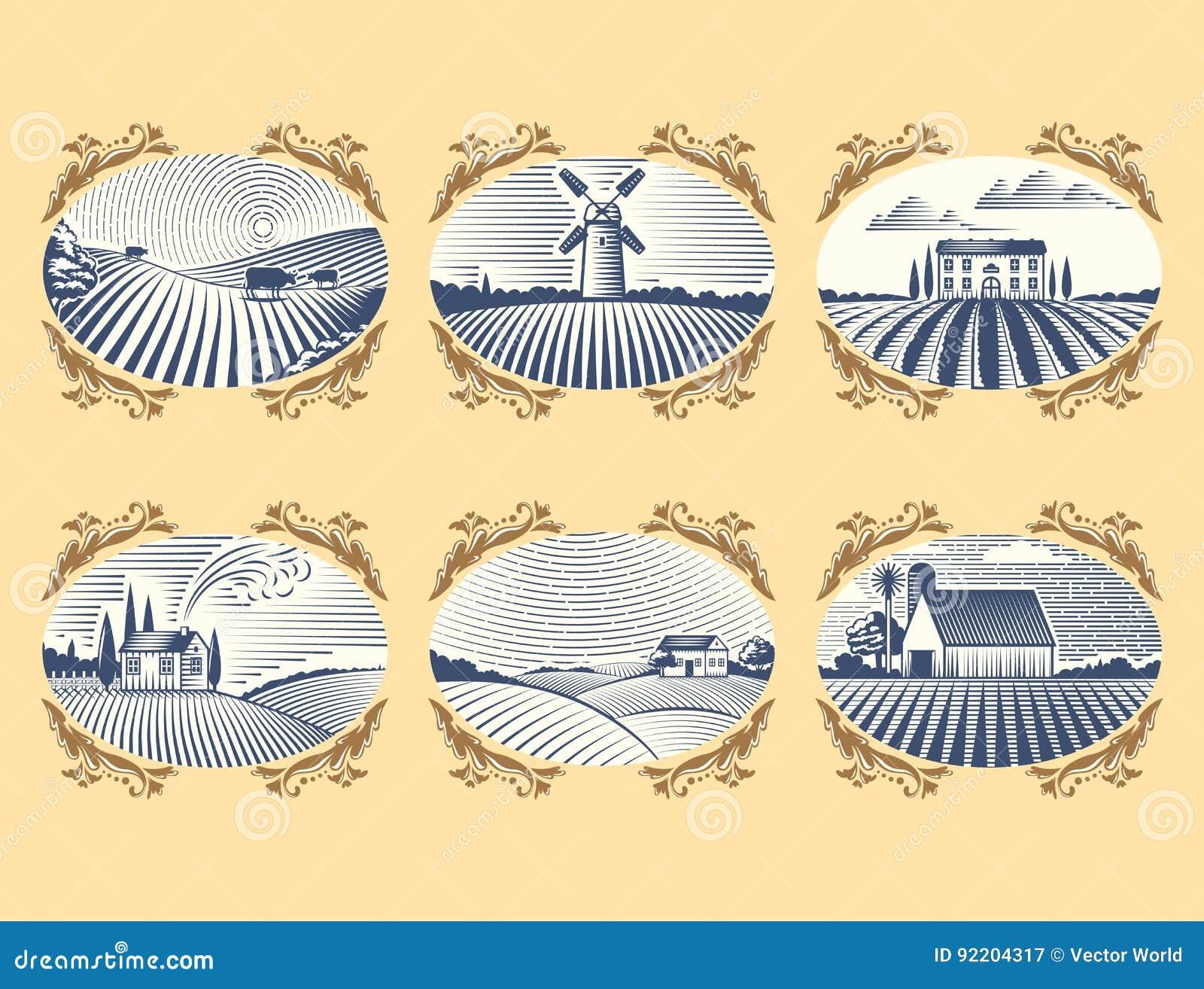 Scenisk antik teckning för Retro för landskapvektorillustration för lantgård bygd för hus åkerbruk grafisk