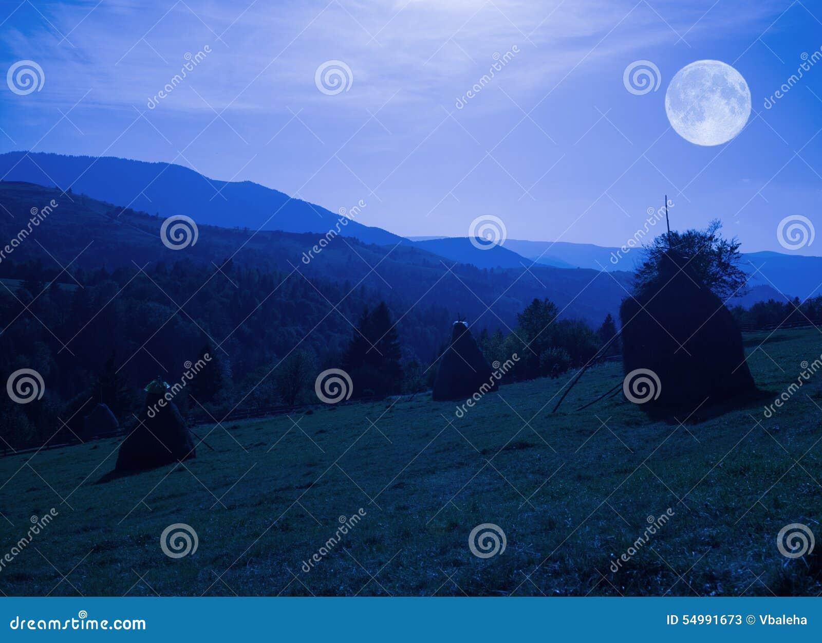 Scenisk sikt för natt över de Carpathian bergen