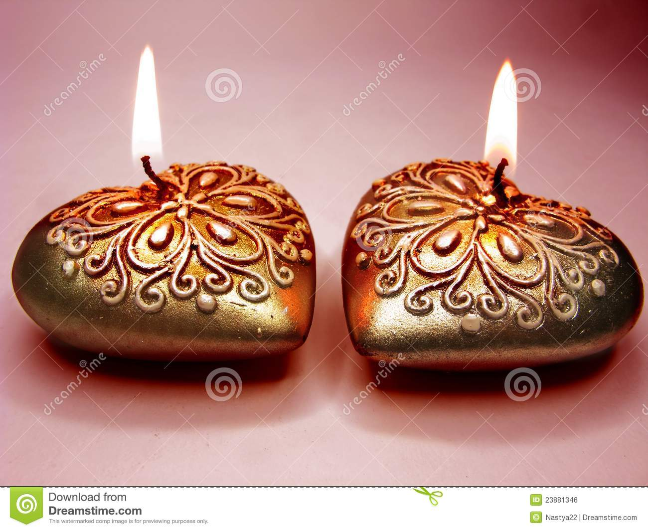 Scented spa candles set heart shape stock photo image for Spa smelling candles
