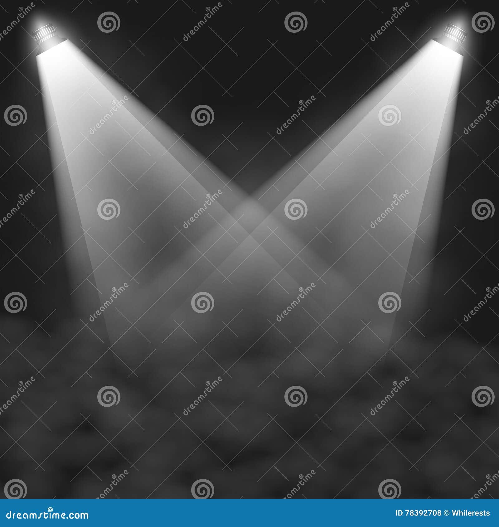 Sceny iluminacja, przejrzyści skutki na szkocka krata zmroku tle Jaskrawy oświetlenie z światłami reflektorów