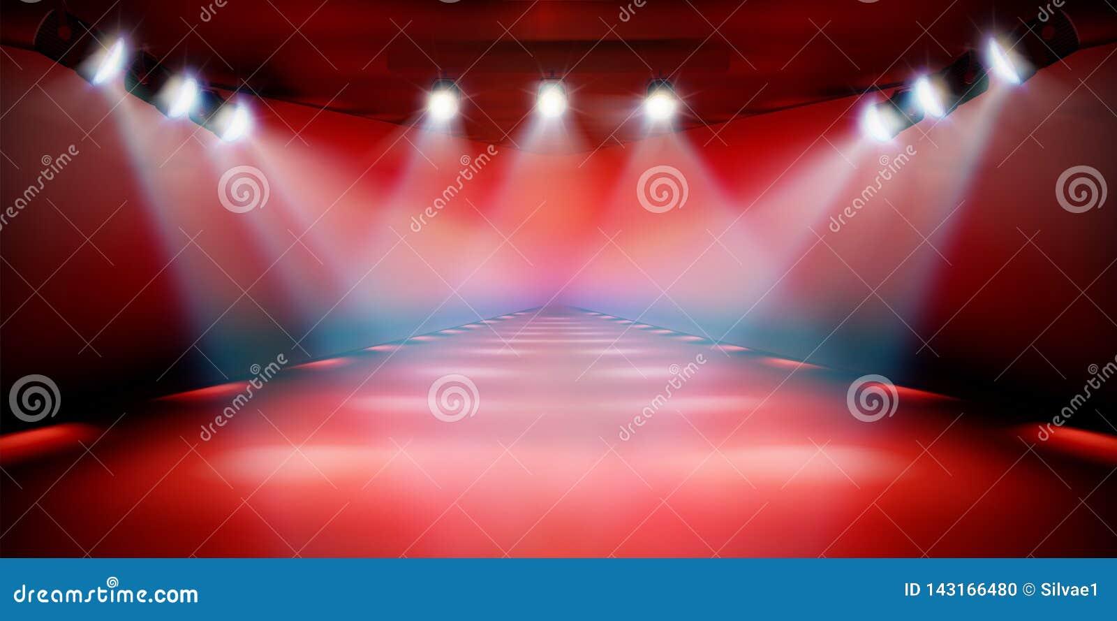 Sceny podium podczas przedstawienia Czerwony tło również zwrócić corel ilustracji wektora