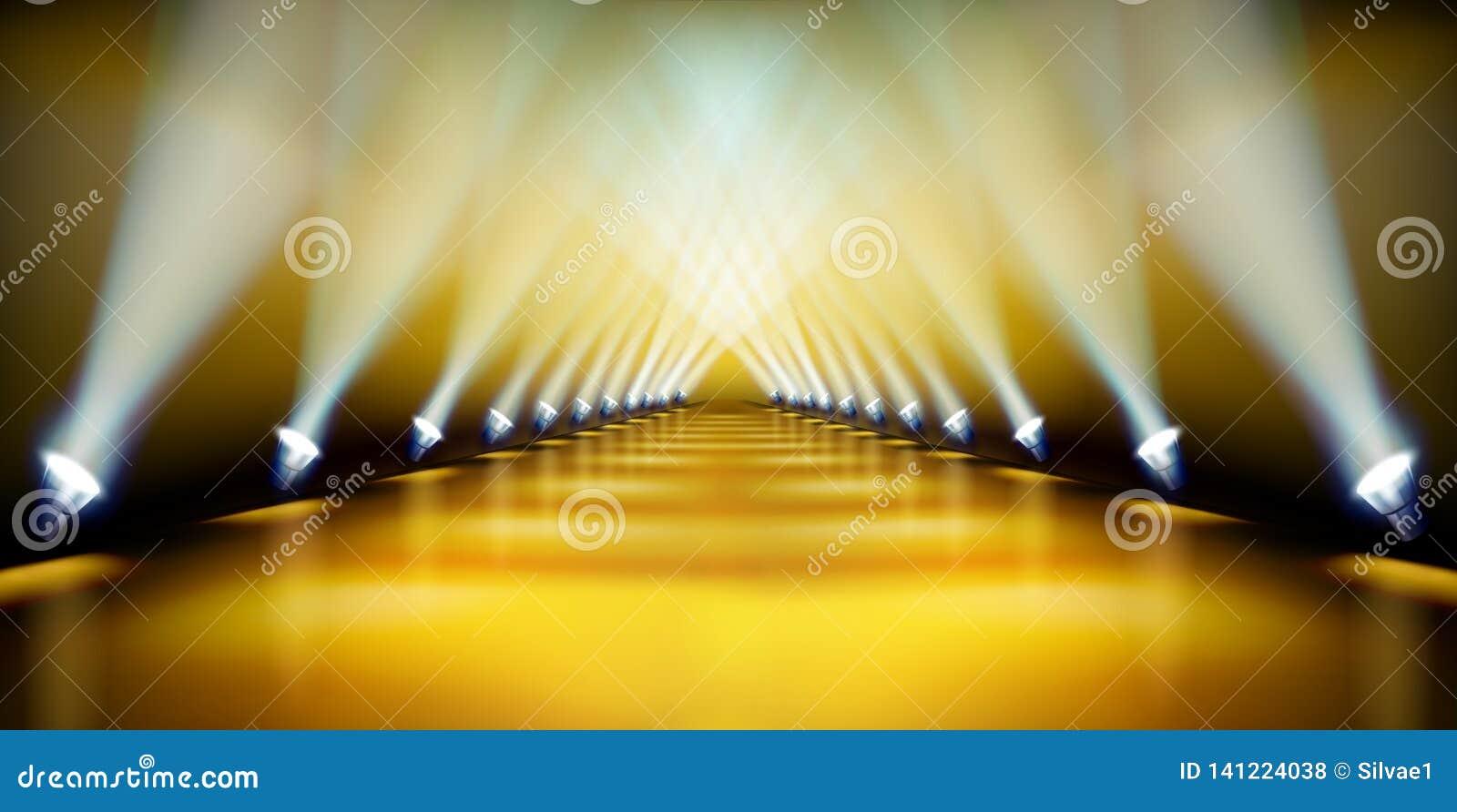 Sceny podium podczas przedstawienia dywanowy złoty również zwrócić corel ilustracji wektora