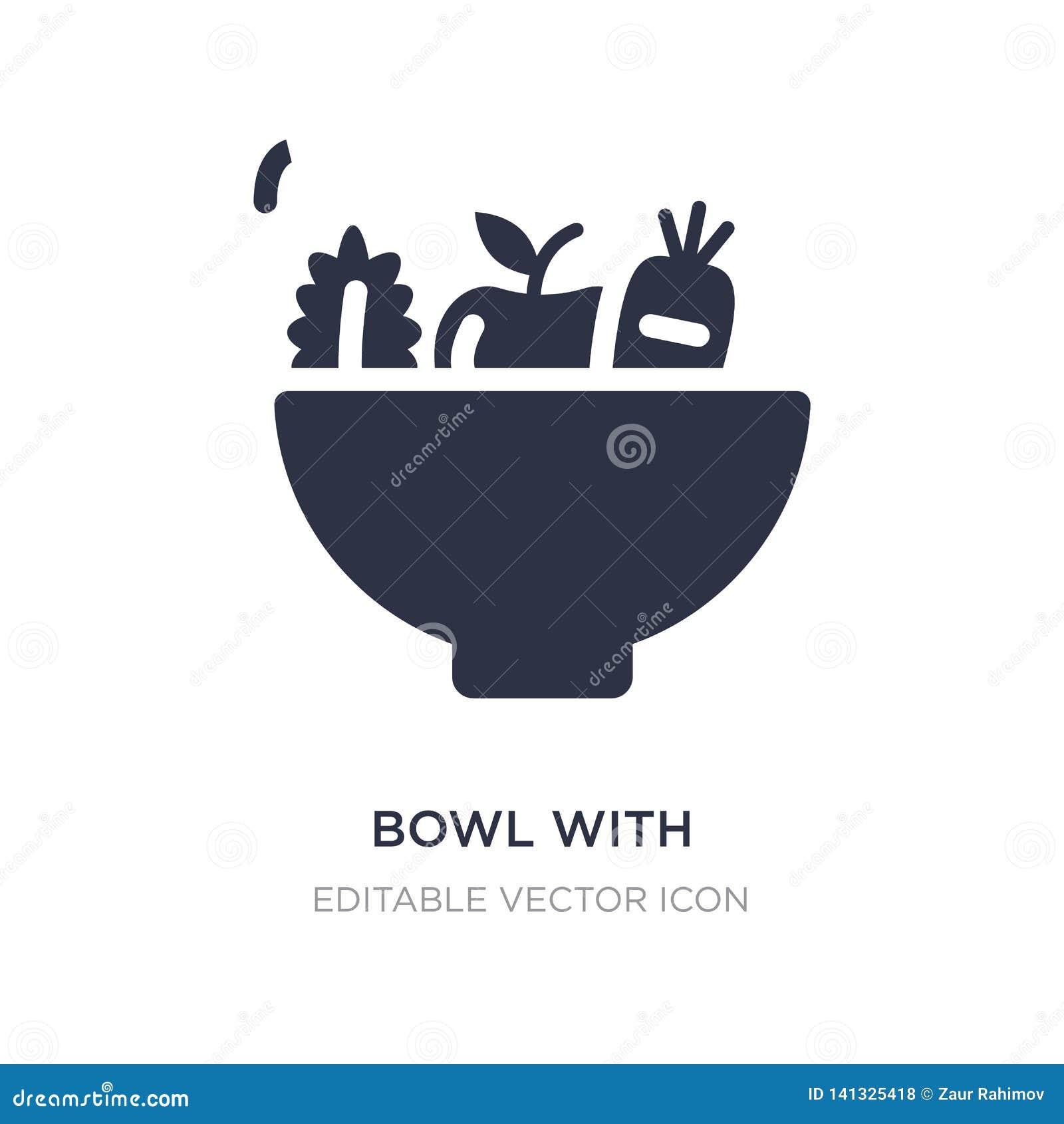 Schüssel mit Gemüseikone auf weißem Hintergrund Einfache Elementillustration vom Nahrungsmittelkonzept