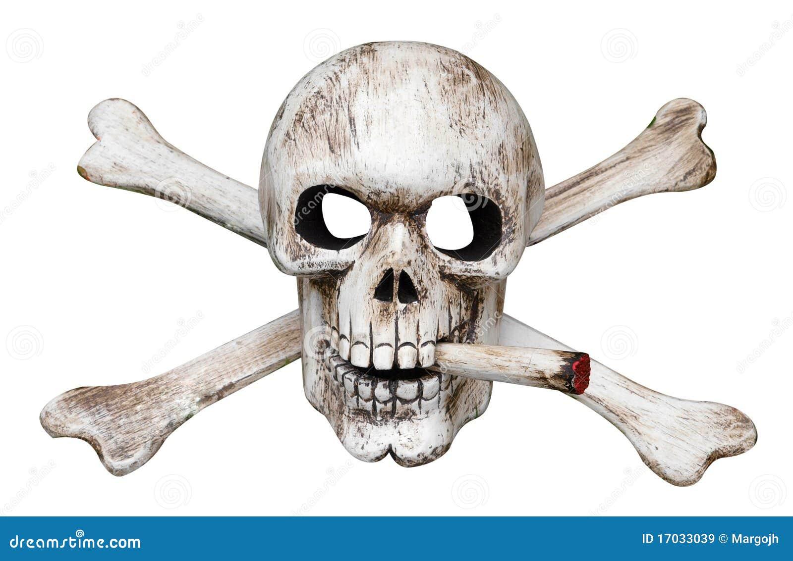 Schädel-und Kreuz-Knochen Mit Zigarette Stockbild - Bild von ...