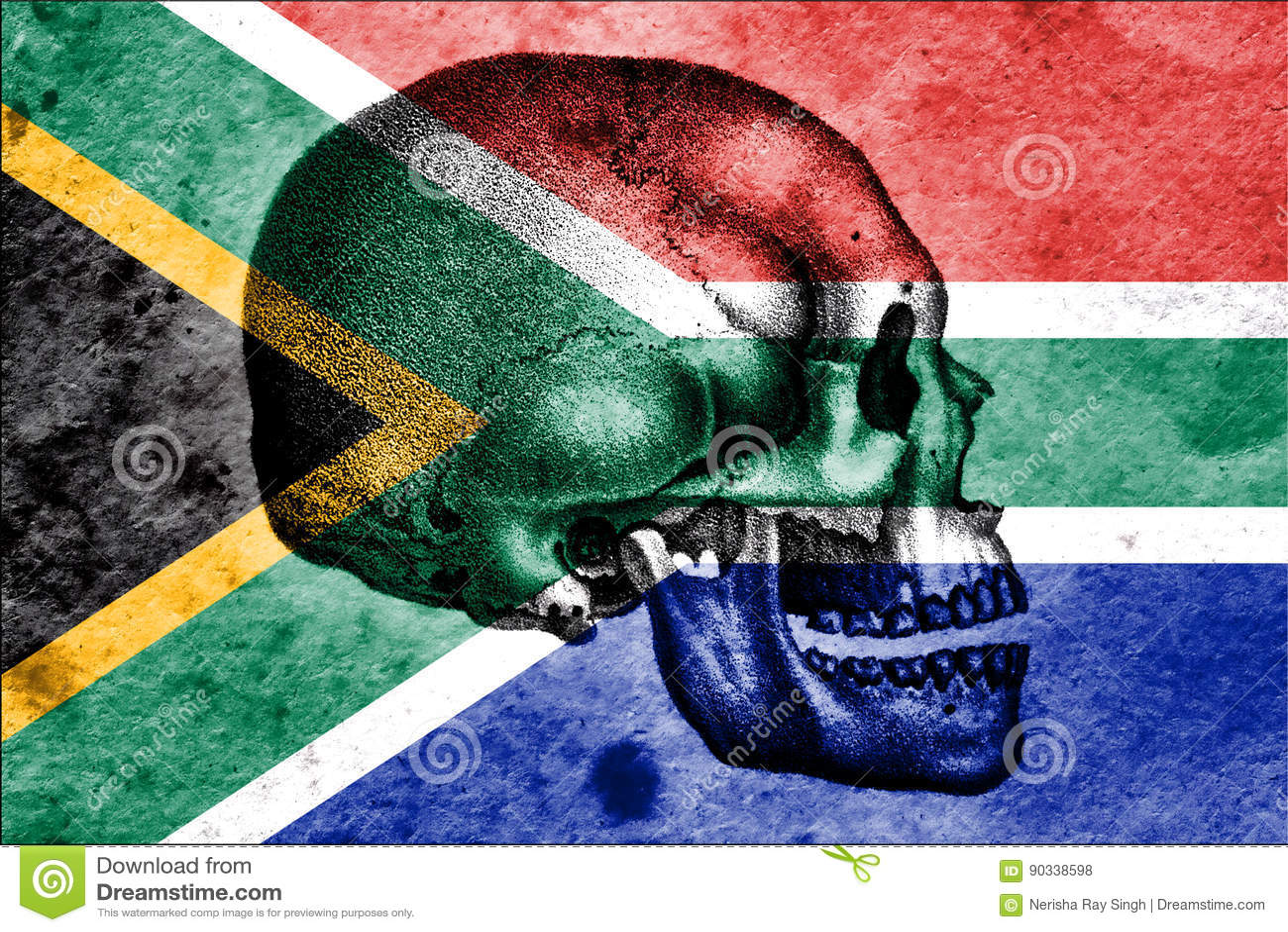 Schädel und südafrikanische Flagge, die Wiege der Menschheit bedeutend