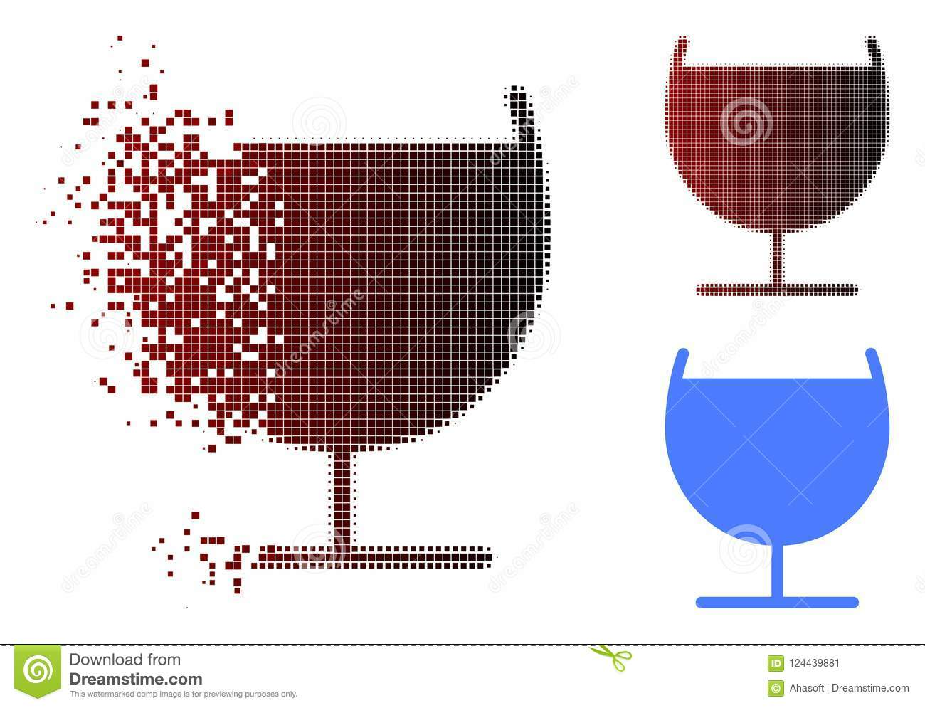 Schädigender Dot Halftone Alcohol Glass Icon