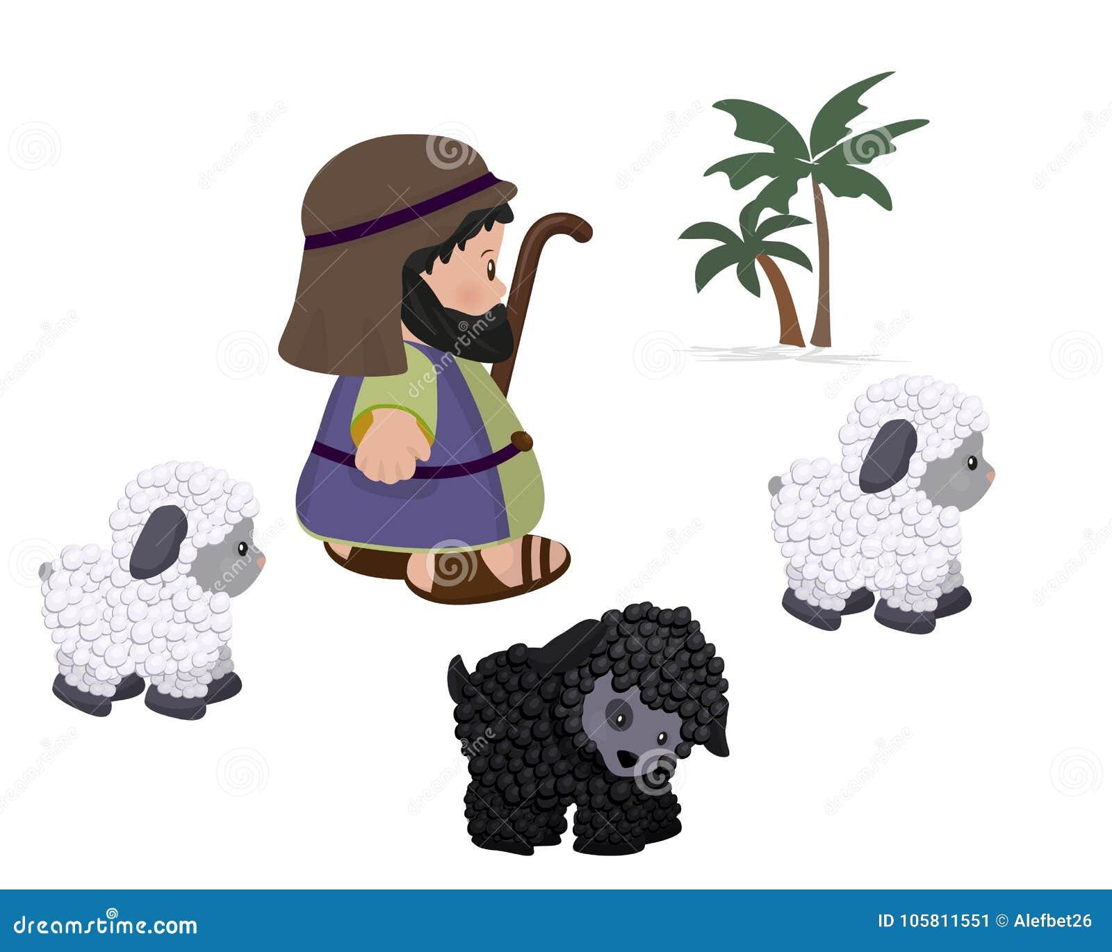 Schäfer Und Schafe, Symbolsatz Vektor Abbildung - Illustration von ...