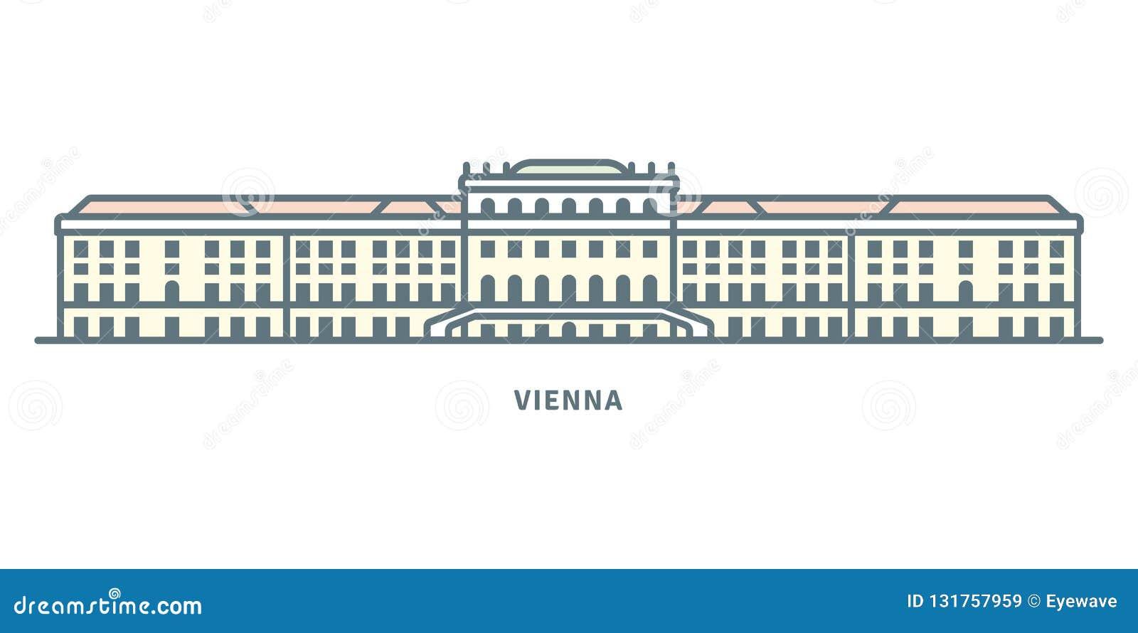 Schönbrunn Palace At Vienna Vector Illustration Stock Vector