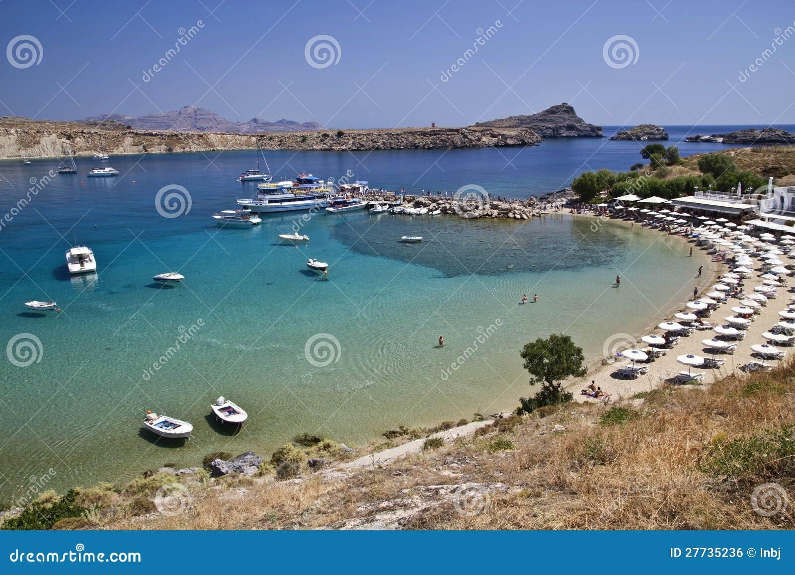 Schöne Ansicht des Lindos Hafens