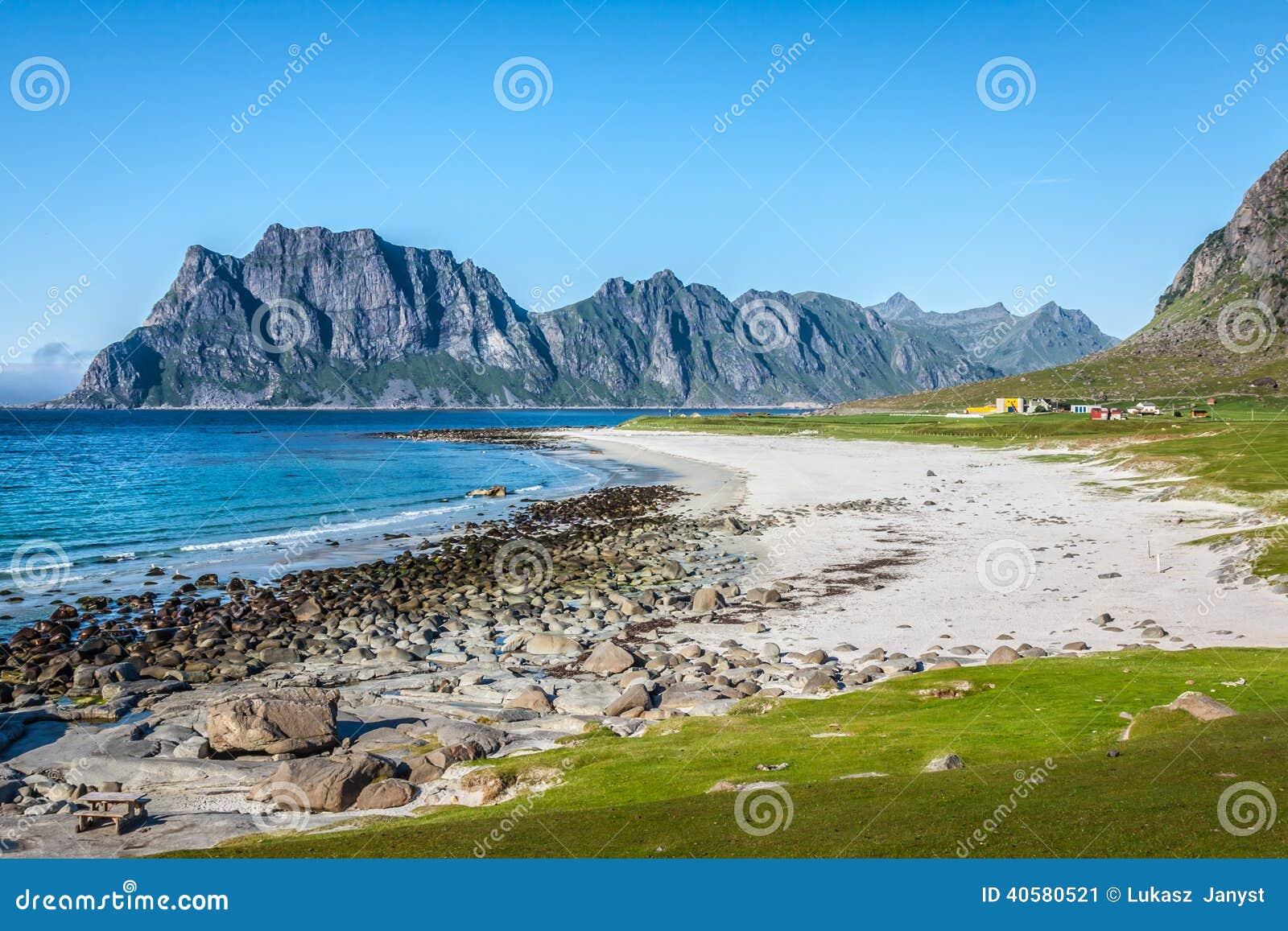sch ne ansicht zu eggum strand in norwegen lofoten inseln stockfoto bild 40580521. Black Bedroom Furniture Sets. Home Design Ideas