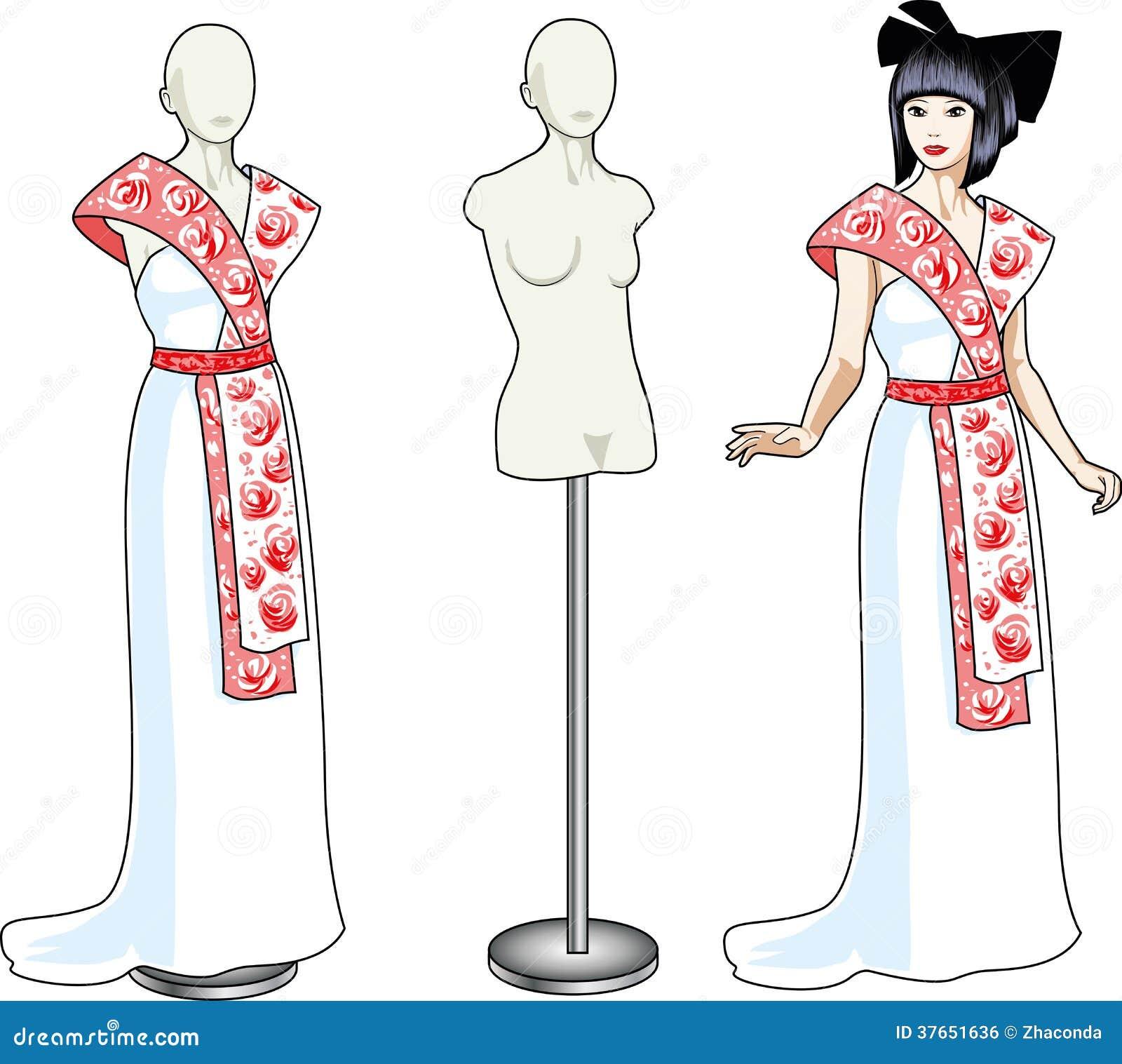 Schöne Asiatische Frau Versucht An Weißes Hochzeitskleid Vektor ...