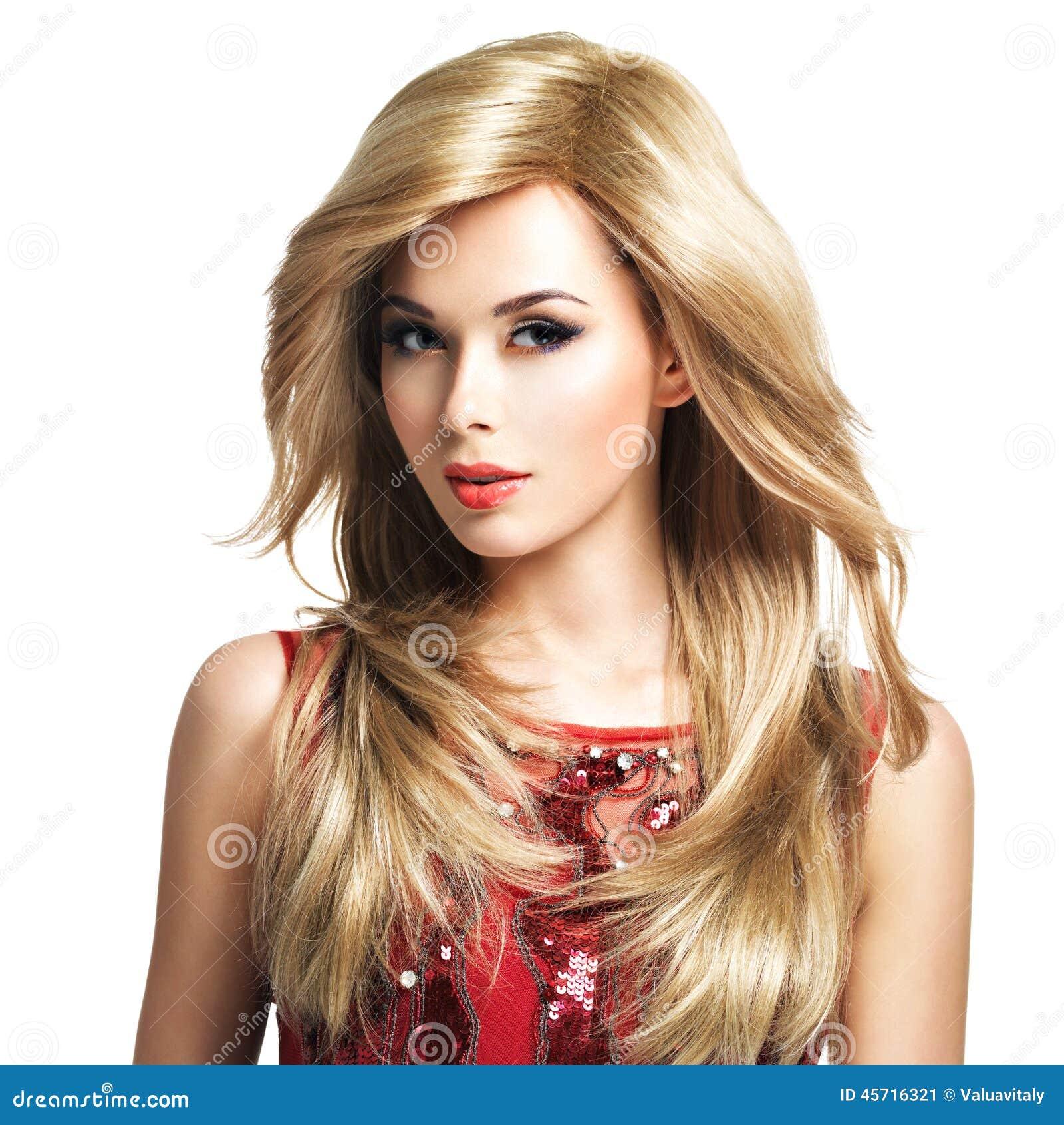 Schone Blonde Frau Mit Langhaarfrisur Stockbild Bild Von Blond