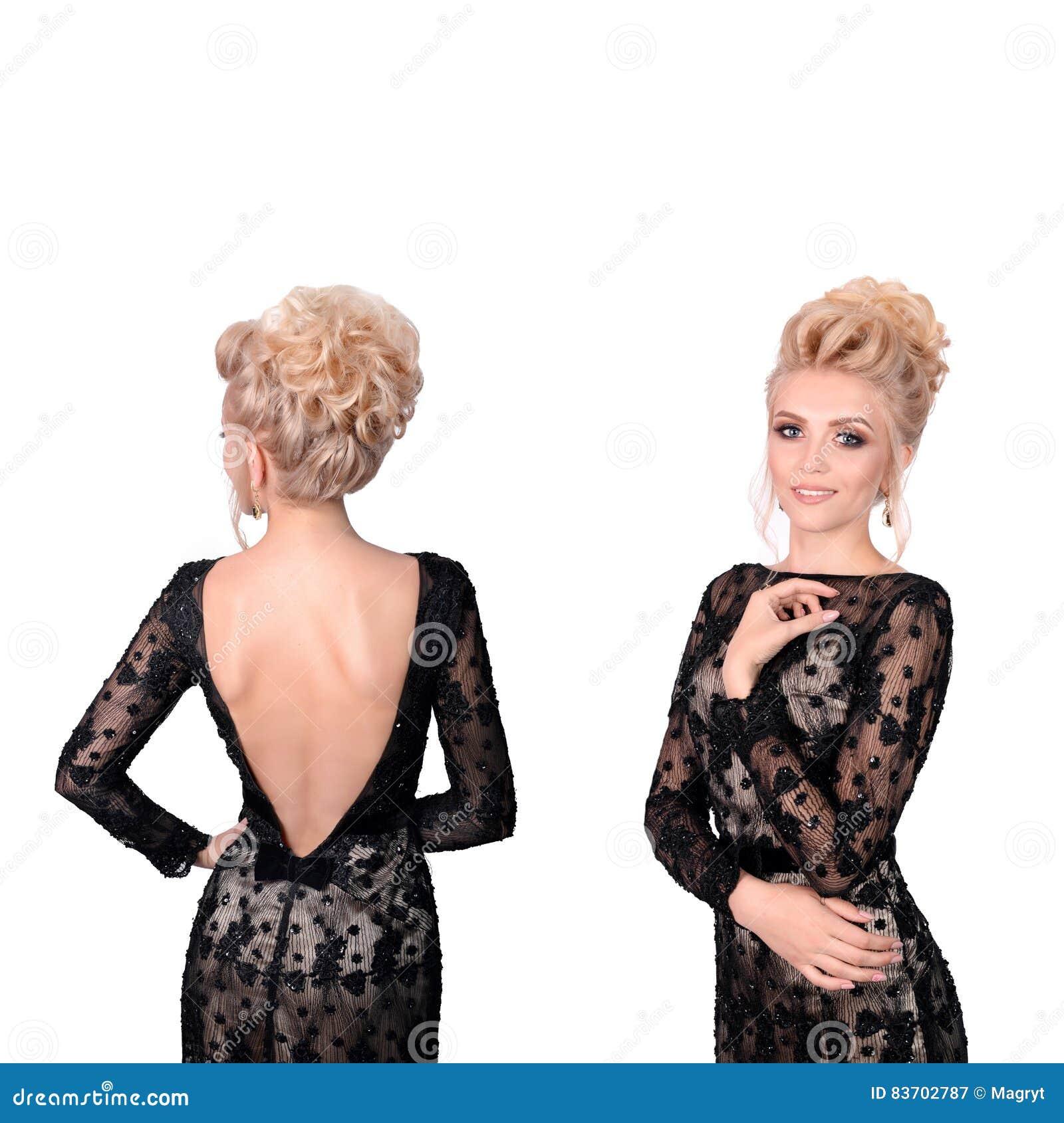 Schone Blondine Im Eleganten Schwarzen Niedrigen Der Verringerung