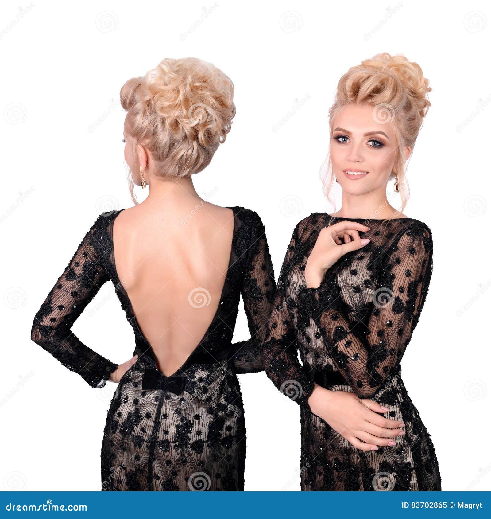 Schone Blondine Im Eleganten Schwarzen Tief Schnitten Abendkleid Mit
