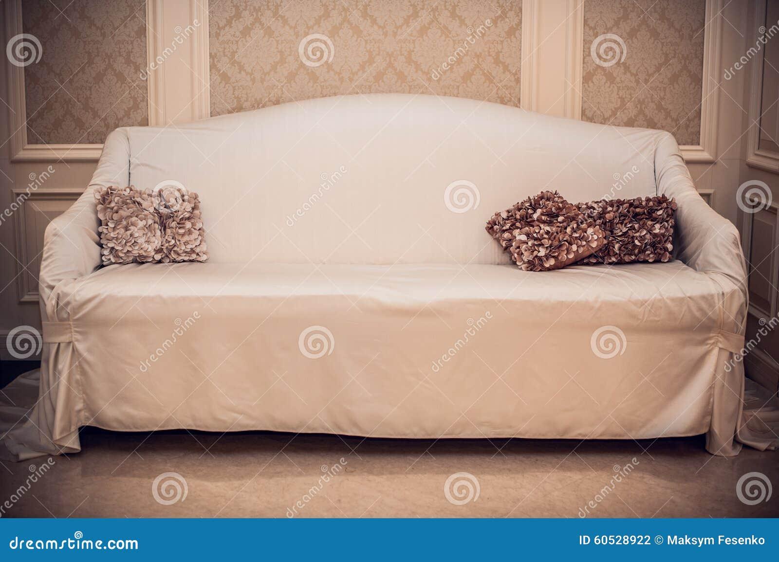 Schöne Braune Kissen Auf Hellem Sofa