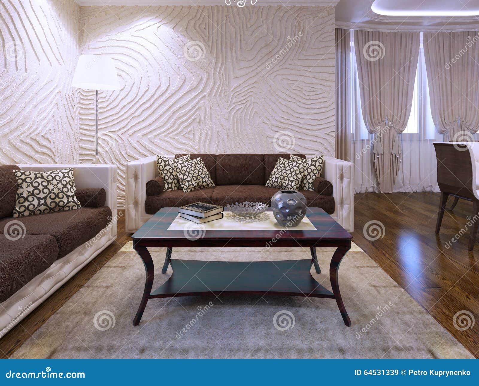 Schone Braune Mobel Im Wohnzimmer Stockbild Bild Von Wohnung