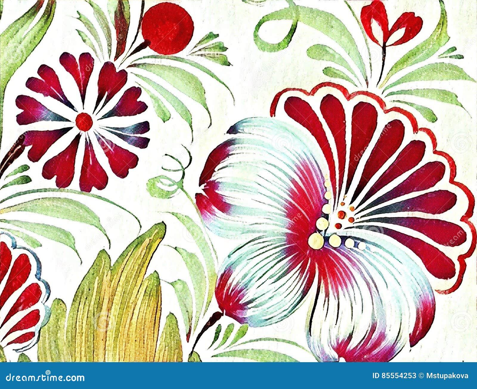 Schöne bunte Malereiblume mit Blättern Traditionelle ukrainische Malerei