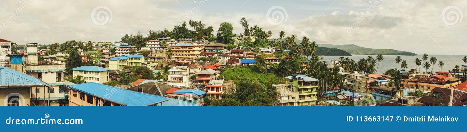 Schöne Draufsicht der Stadt von Port Blair