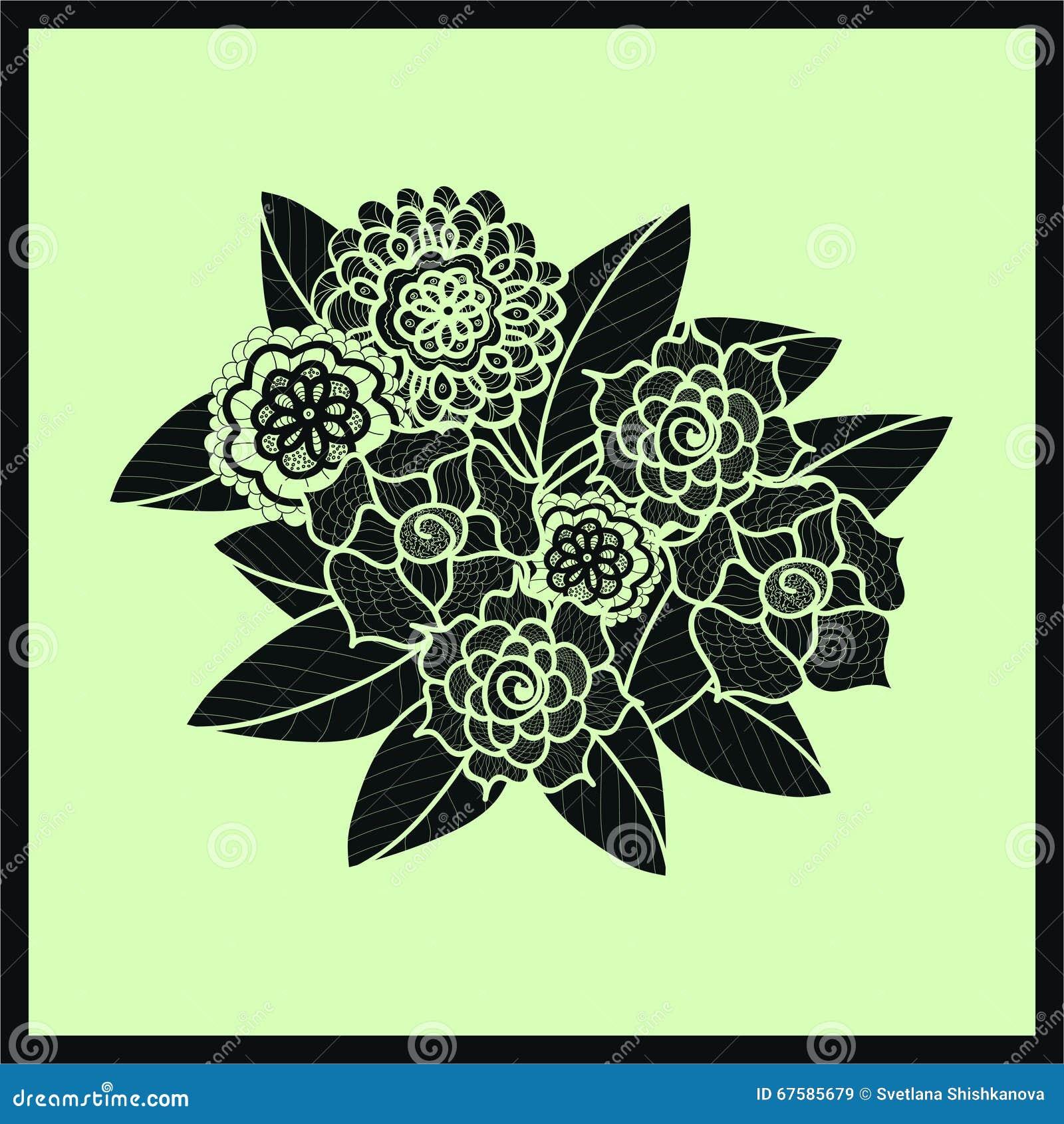 download schne gekritzelkunstblumen zentangle muster hand gezeichnet vektor abbildung illustration von blatt nett - Zentangle Muster