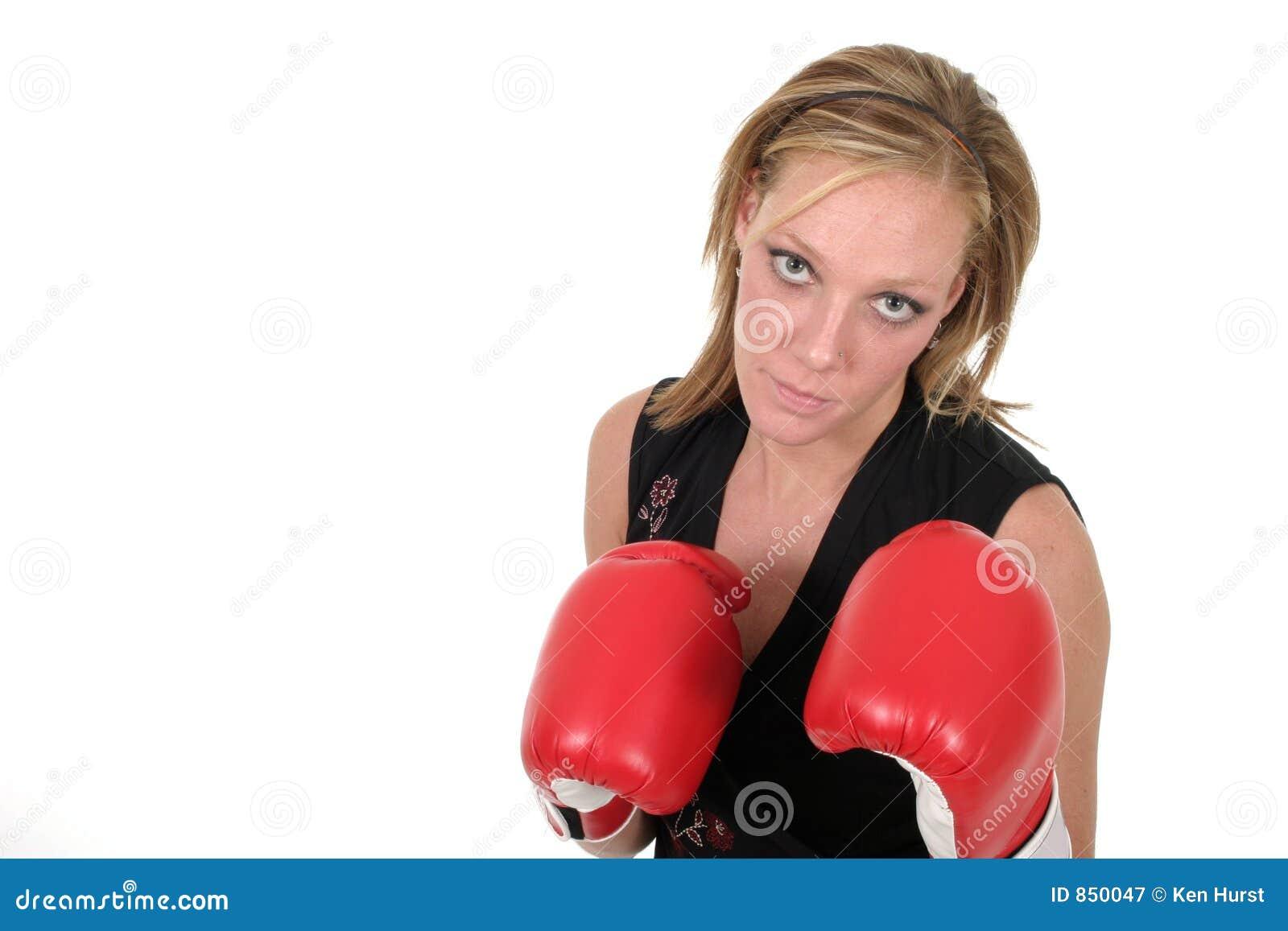 Schöne Geschäftsfrau in den Verpacken-Handschuhen 9b