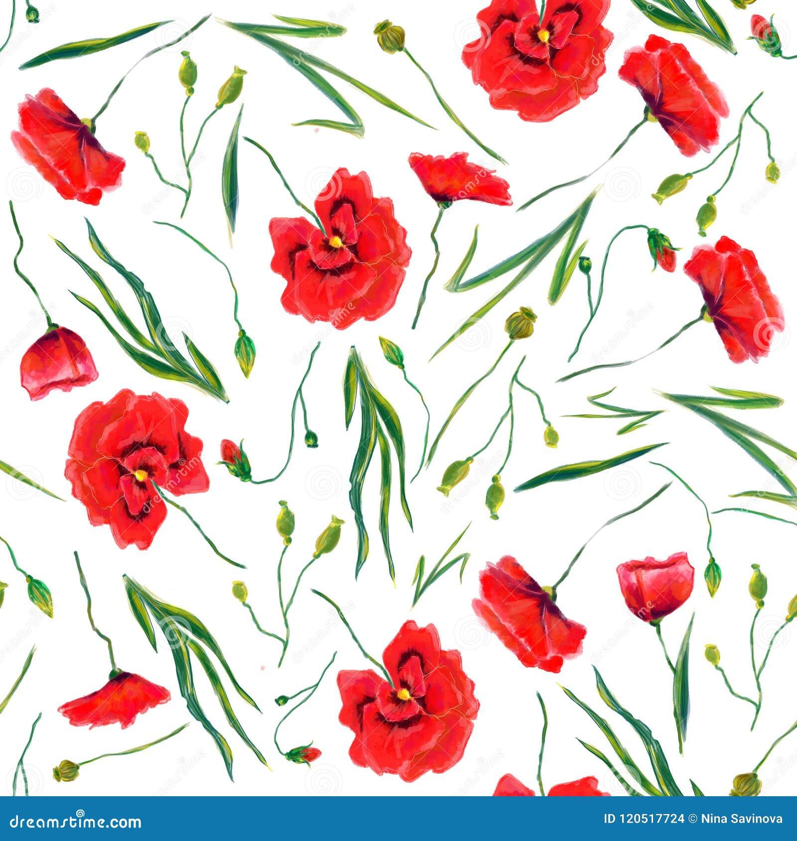 Schöne Hand gezeichnetes Musterdesign der wilden Blumen des Aquarells nahtloses
