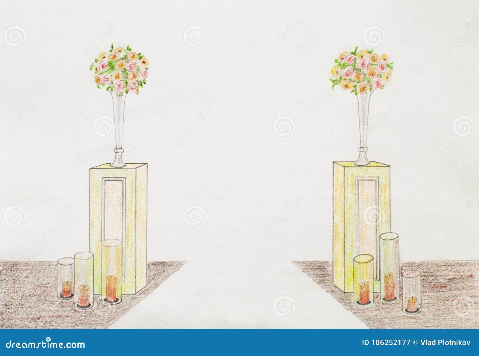 Schöne Hochzeitszeremonie-Designdekorationselemente mit Bogen,